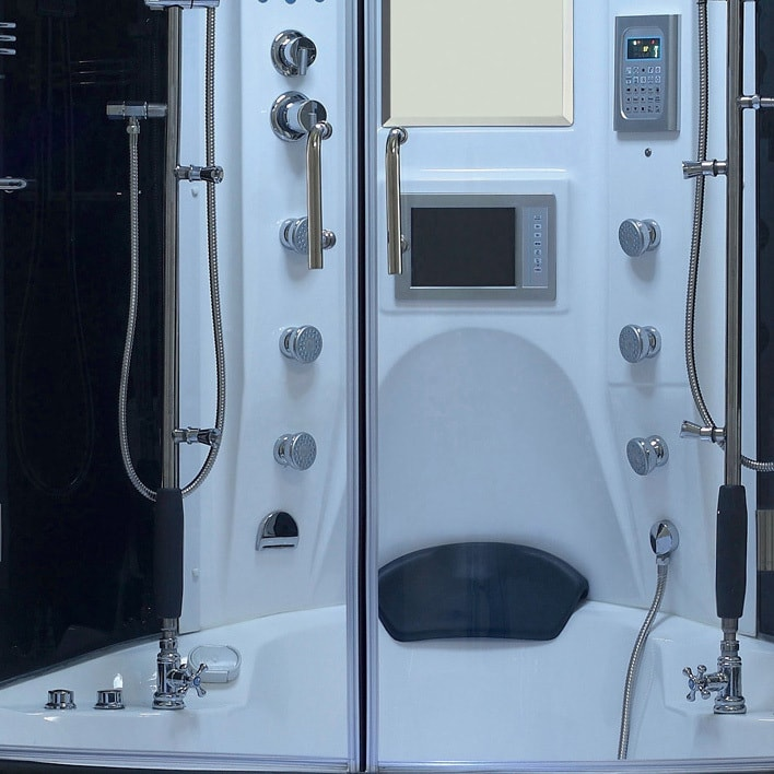 Shop Valencia Steam Shower Sauna Tub With White Acrylic Stainless ...