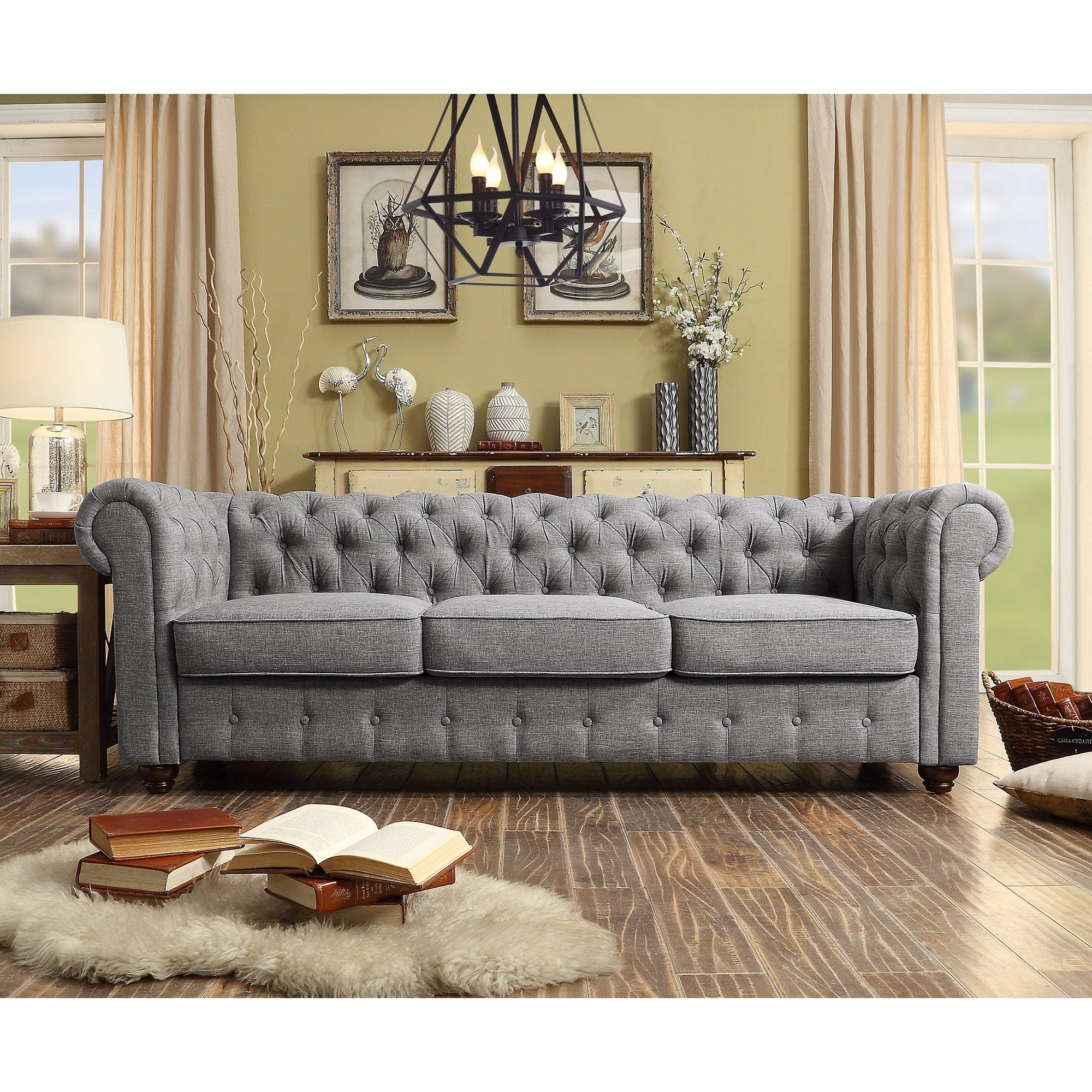 Garcia Hand Tufted Rolled Arms Sofa   Free Shipping Today   Overstock    18905652