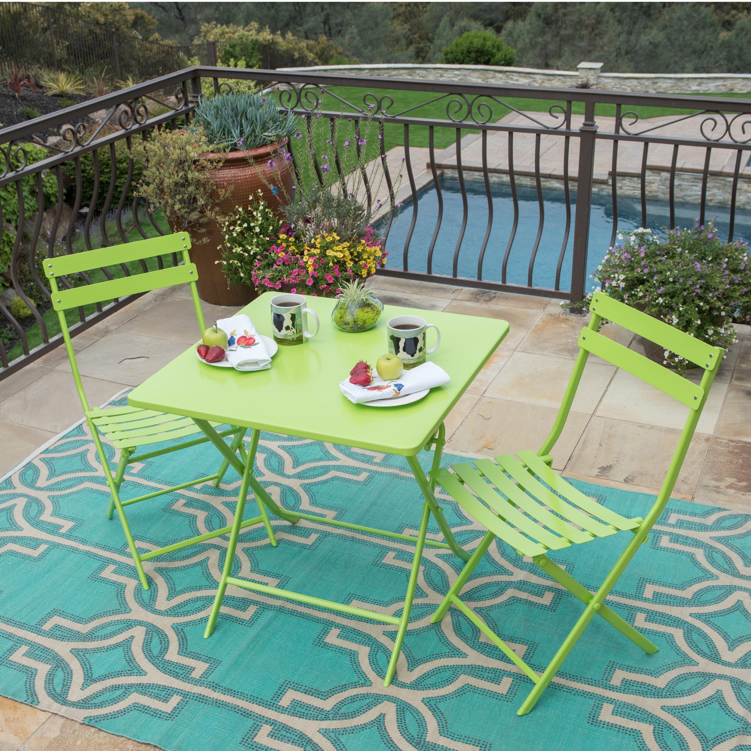 Corvus Rio Outdoor 3 Piece Square Green Folding Bistro Set