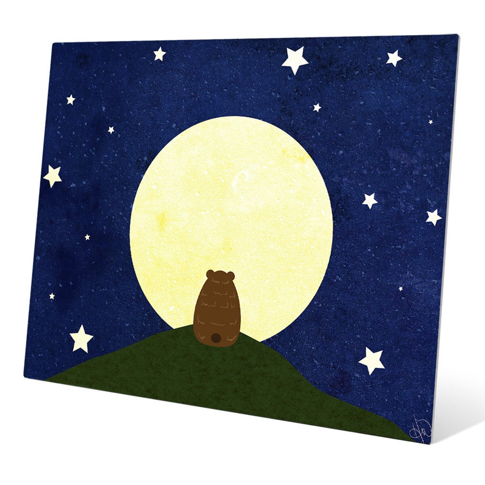 Shop Art and Photo Decor \'Stargazing Bear\' Graphic Metal Wall Art ...