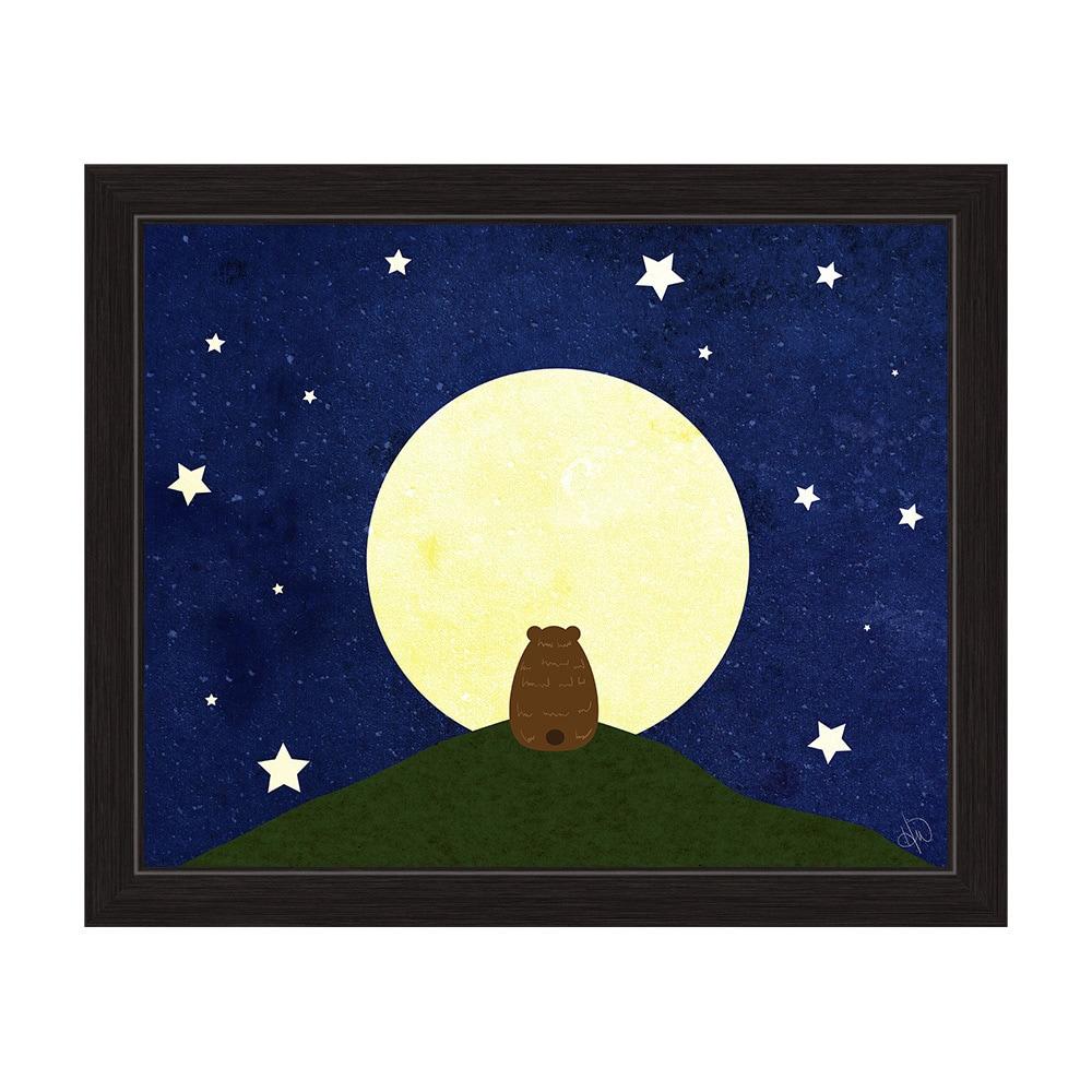 Star Gazing Bear\' Black Frame Graphic Wall Art - Free Shipping Today ...