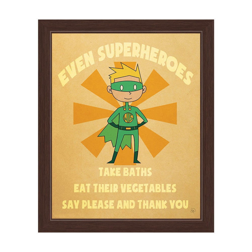 Shop Boy\'s \'Even Superheroes\' Graphic Wall Art Espresso Frame Print ...
