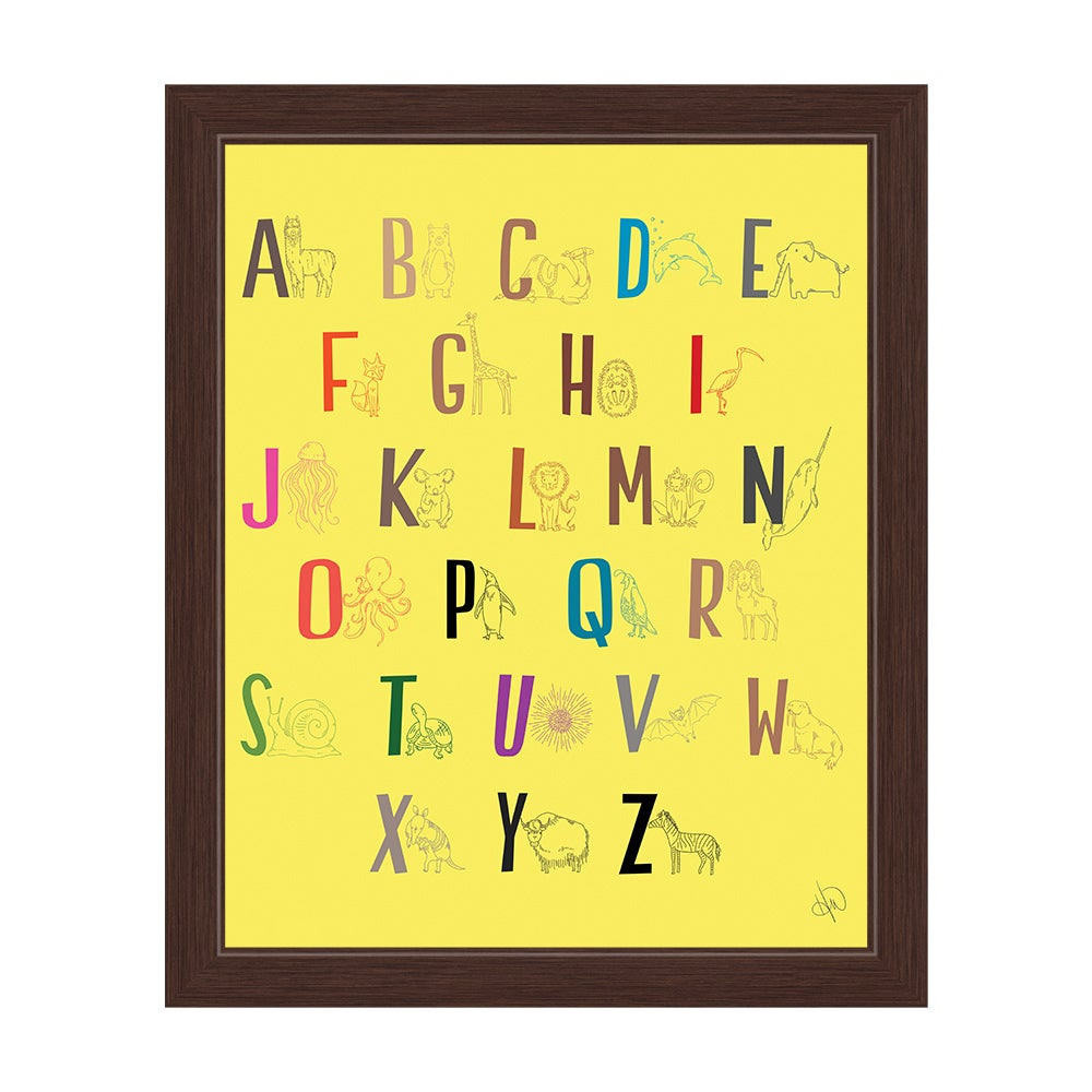 Shop \'A to Z Line Animals\' Yellow Graphic Wall Art with Espresso ...