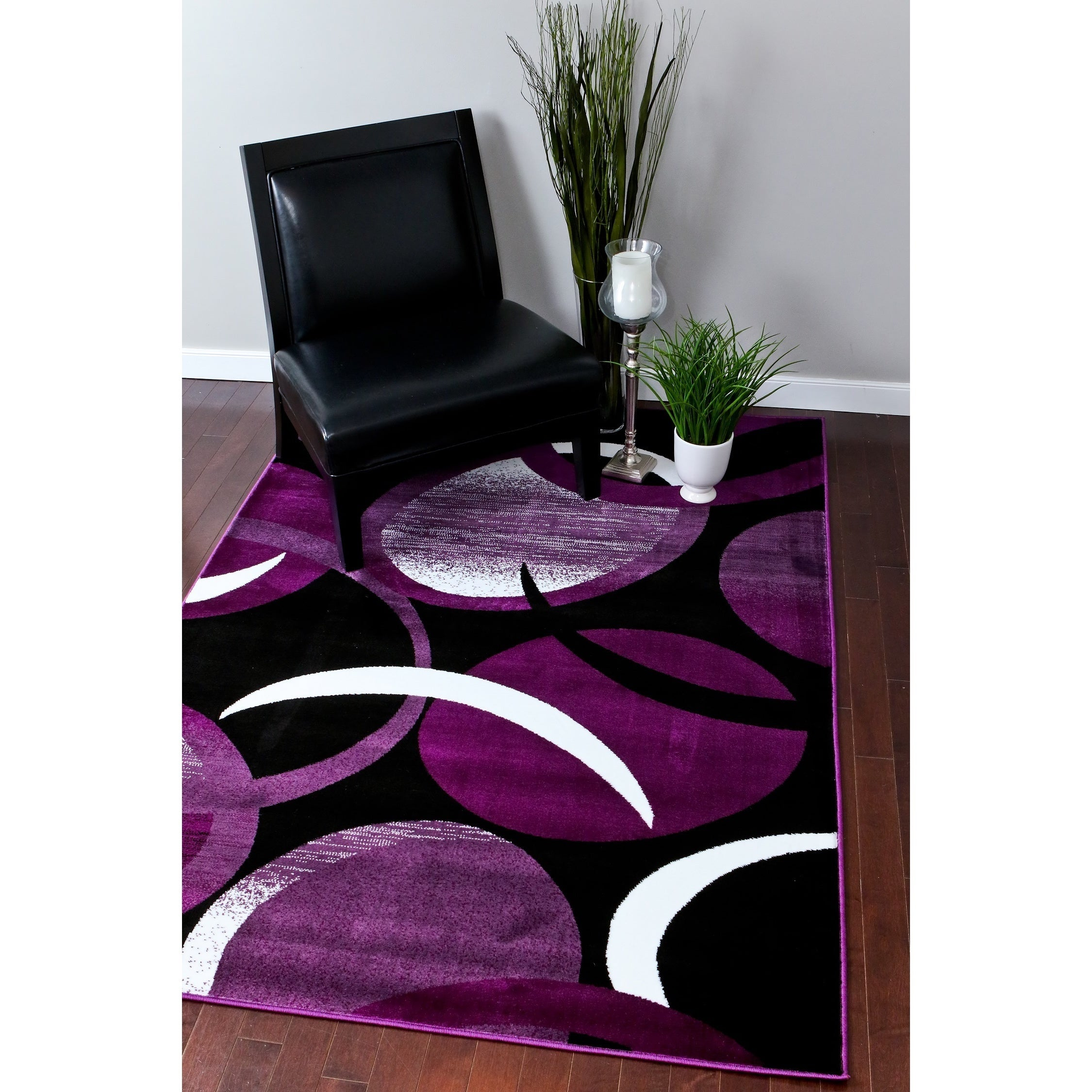 1062 Collection Black Purple White Polypropylene Abstract Area Rug 4 X 5 3 Free Shipping Today 12034365
