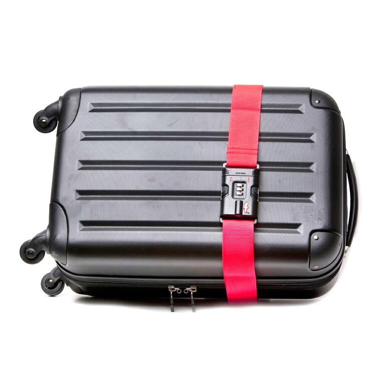 163e50d0f8fd Safe Skies Red Nylon TSA-recognized Locking Luggage Strap with Bonus  Luggage Tag