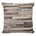 Mina Victory Metallic Thin Stripes Grey/ Silver 20 x 20-inch Throw Pillow by Nourison