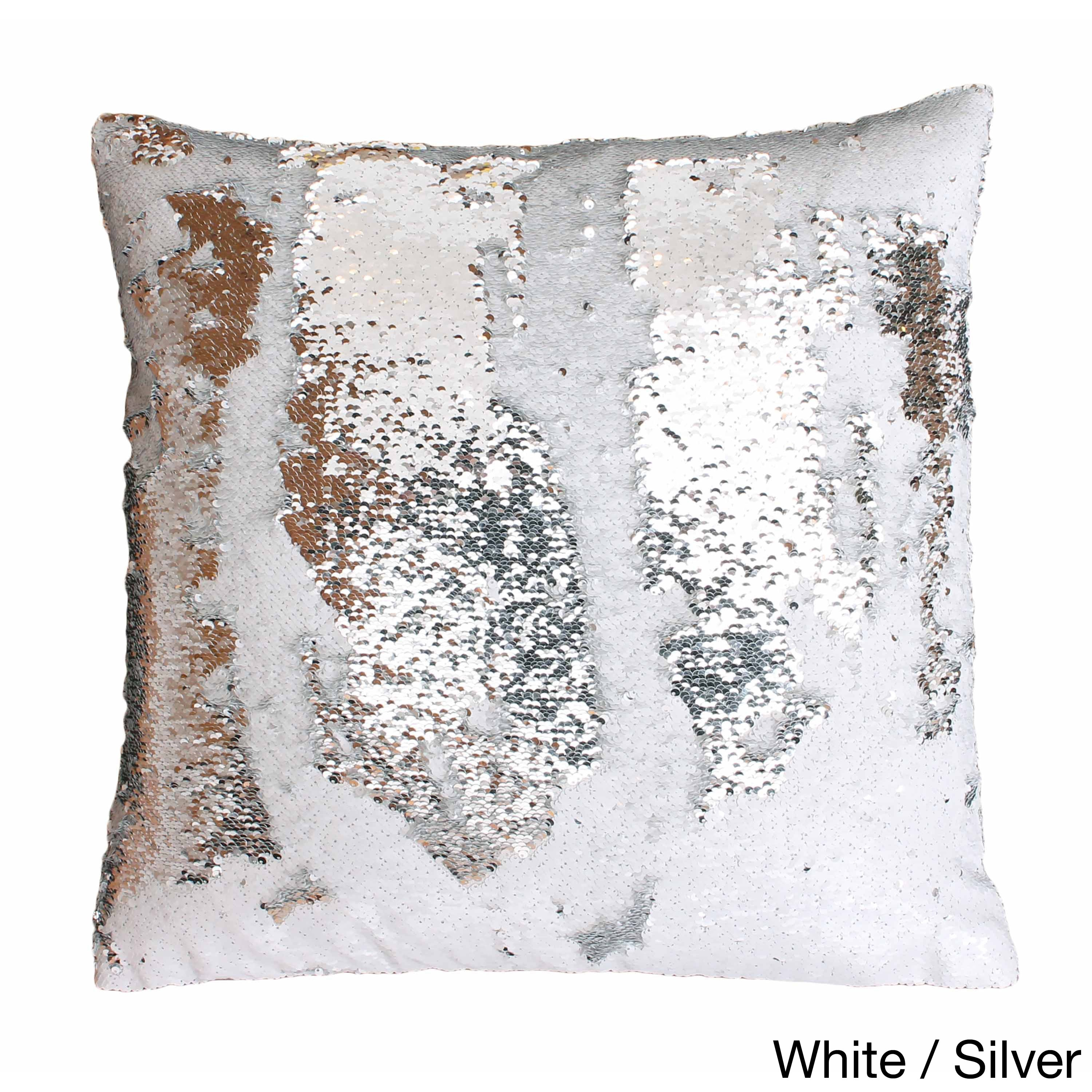 Excellent Melody Mermaid Reversible Sequin 20-inch Feather-filled Pillow  GN15