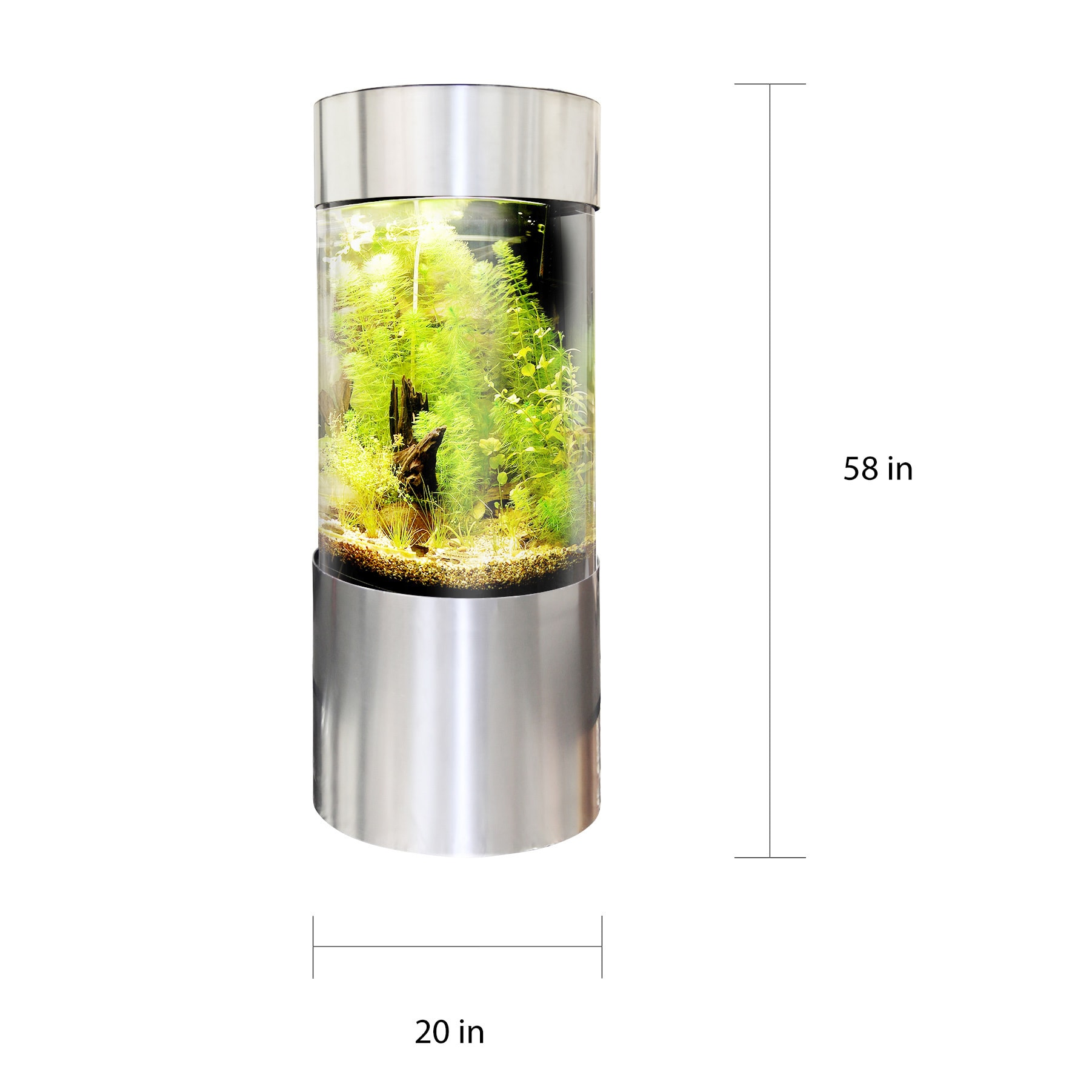 Vapotek 360 Clear Acrylic And Plastic Cylinder Fish Tank With Stainless Steel Trim Free Shipping Today 12038686