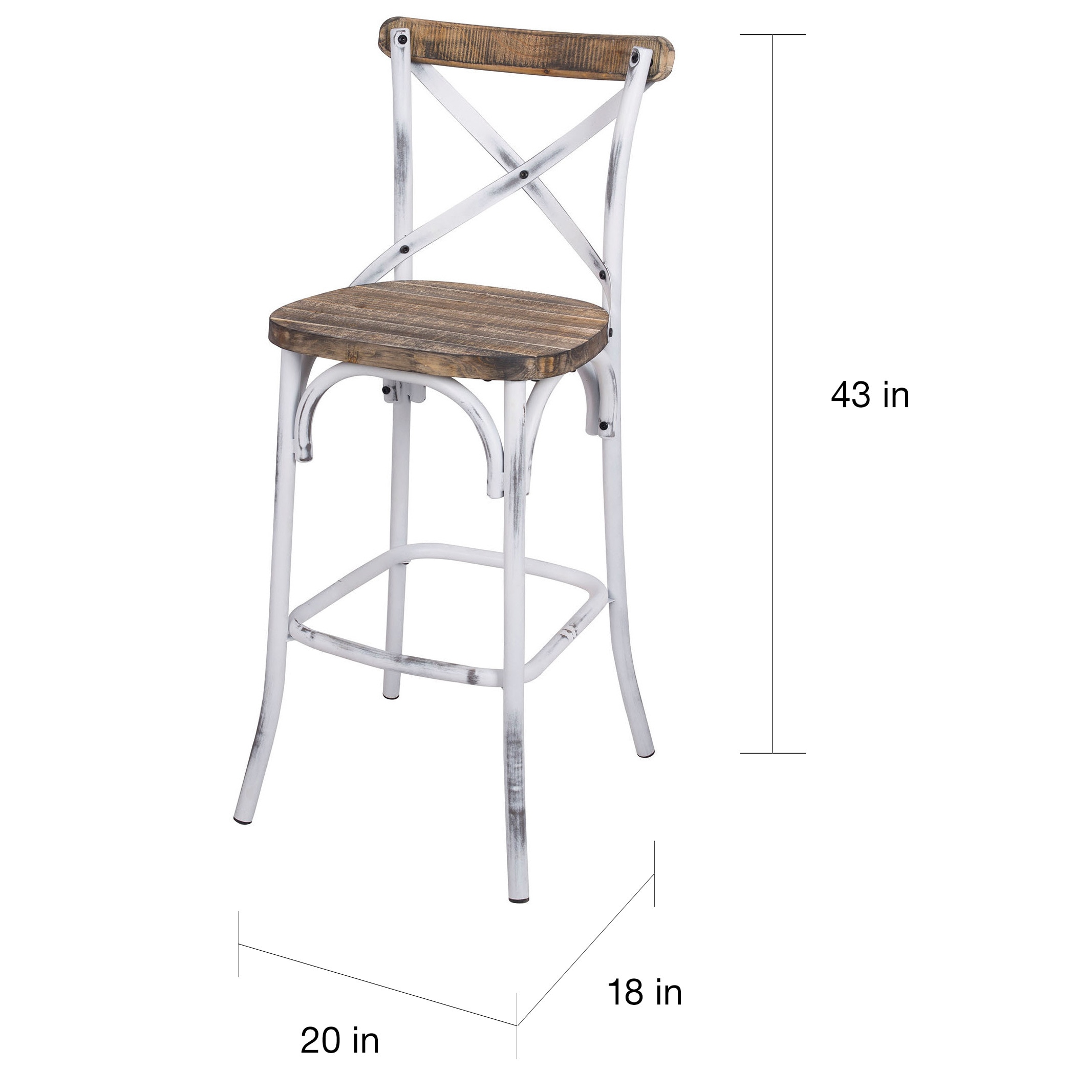 antique white bar stools. Zaire 96642 Walnut-colored Antique White Steel And Wood Bar Chair - Free Shipping Today Overstock 18910554 Stools U