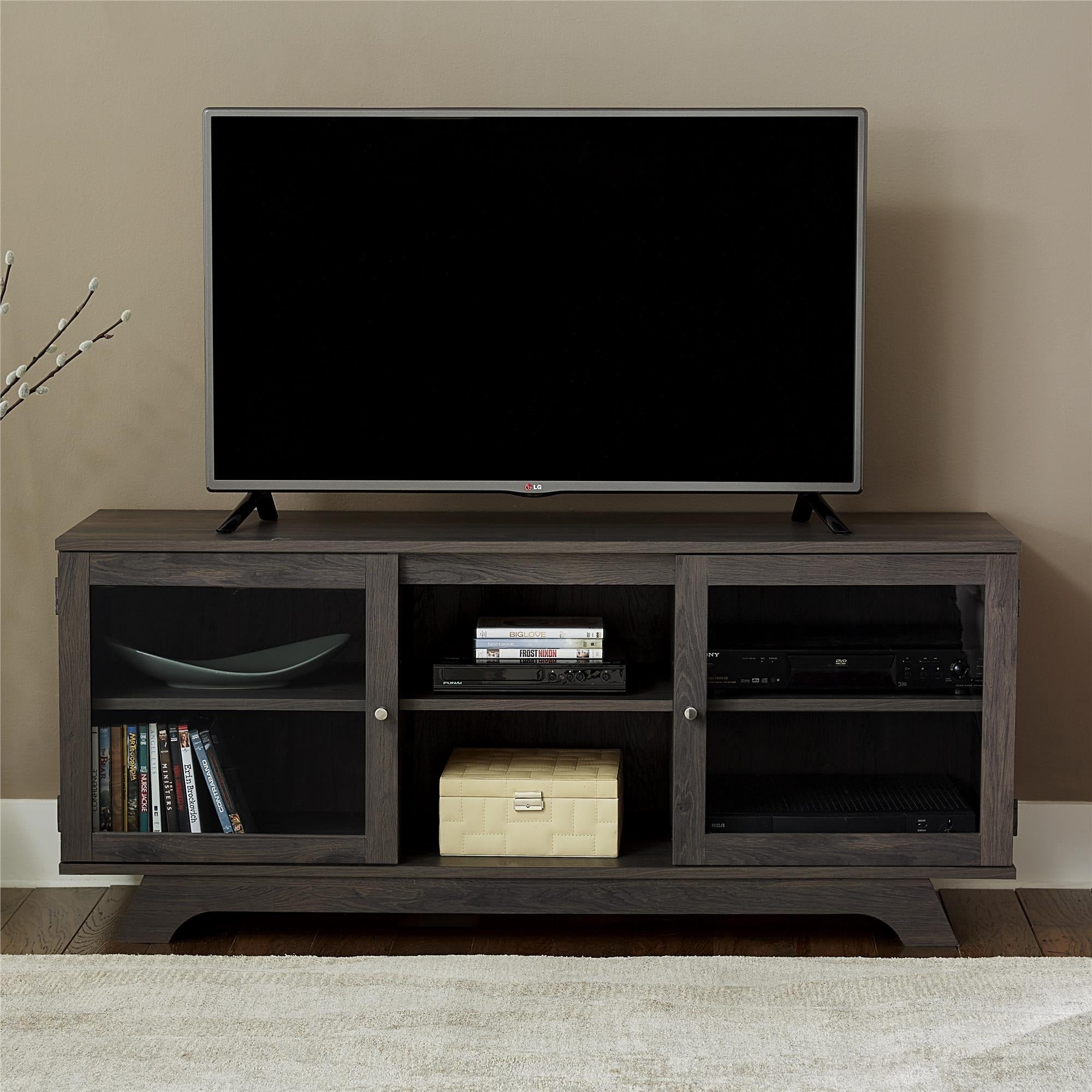 Beau Shop Ameriwood Home Englewood Weathered Oak 55 Inch TV Stand   On Sale    Free Shipping Today   Overstock.com   12039210