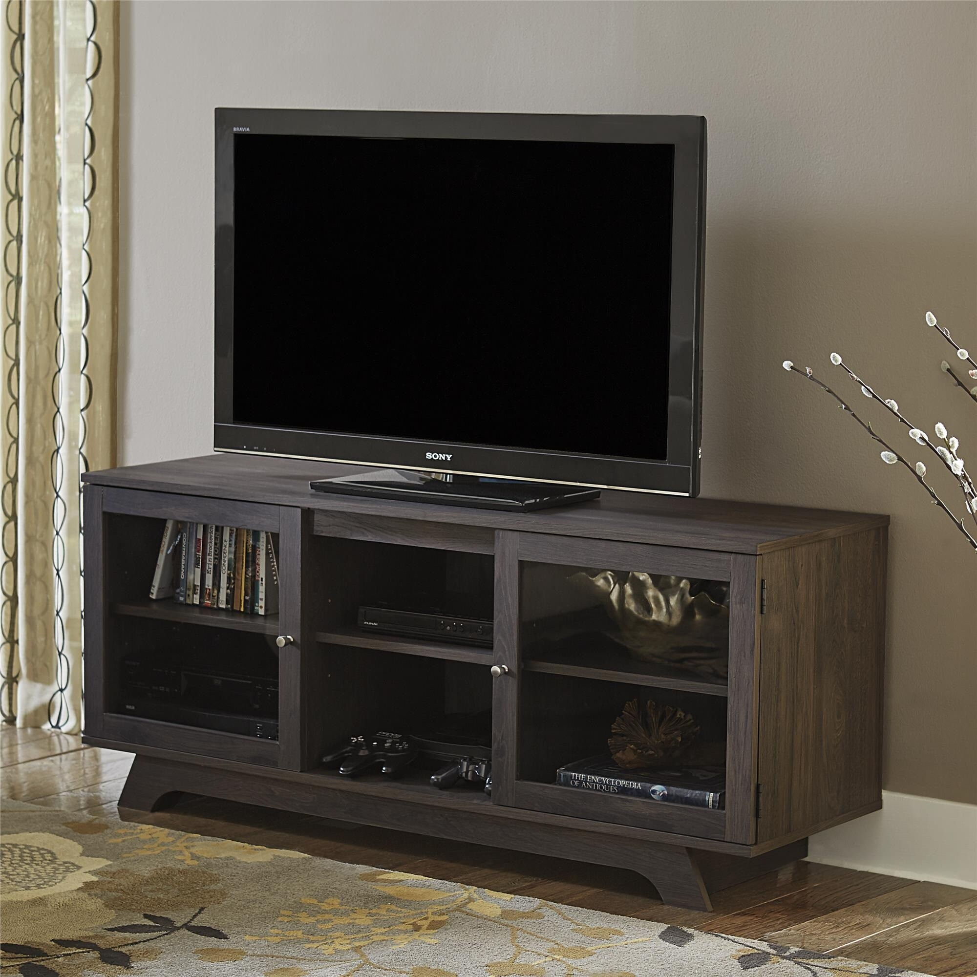 Bon Shop Ameriwood Home Englewood Weathered Oak 55 Inch TV Stand   On Sale    Free Shipping Today   Overstock.com   12039210