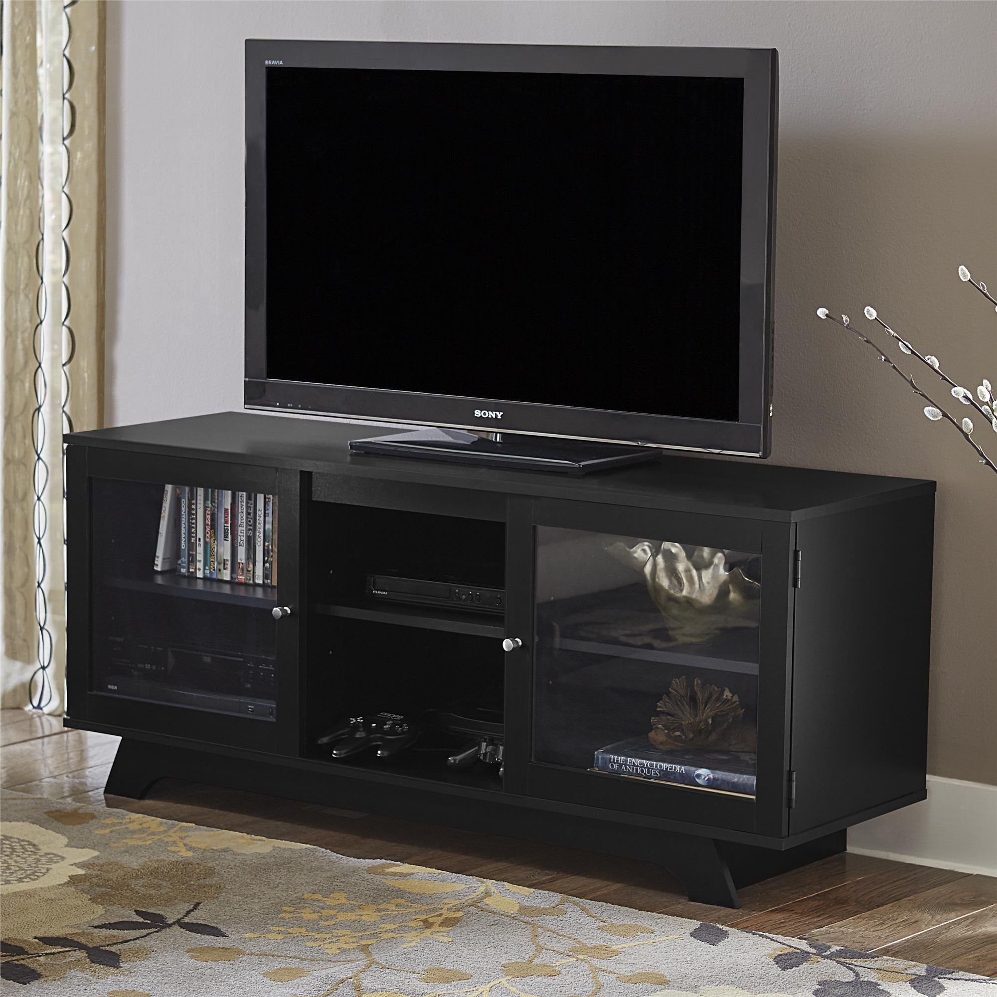 Shop ameriwood home englewood black 55 inch tv stand free shipping today overstock com 12039211