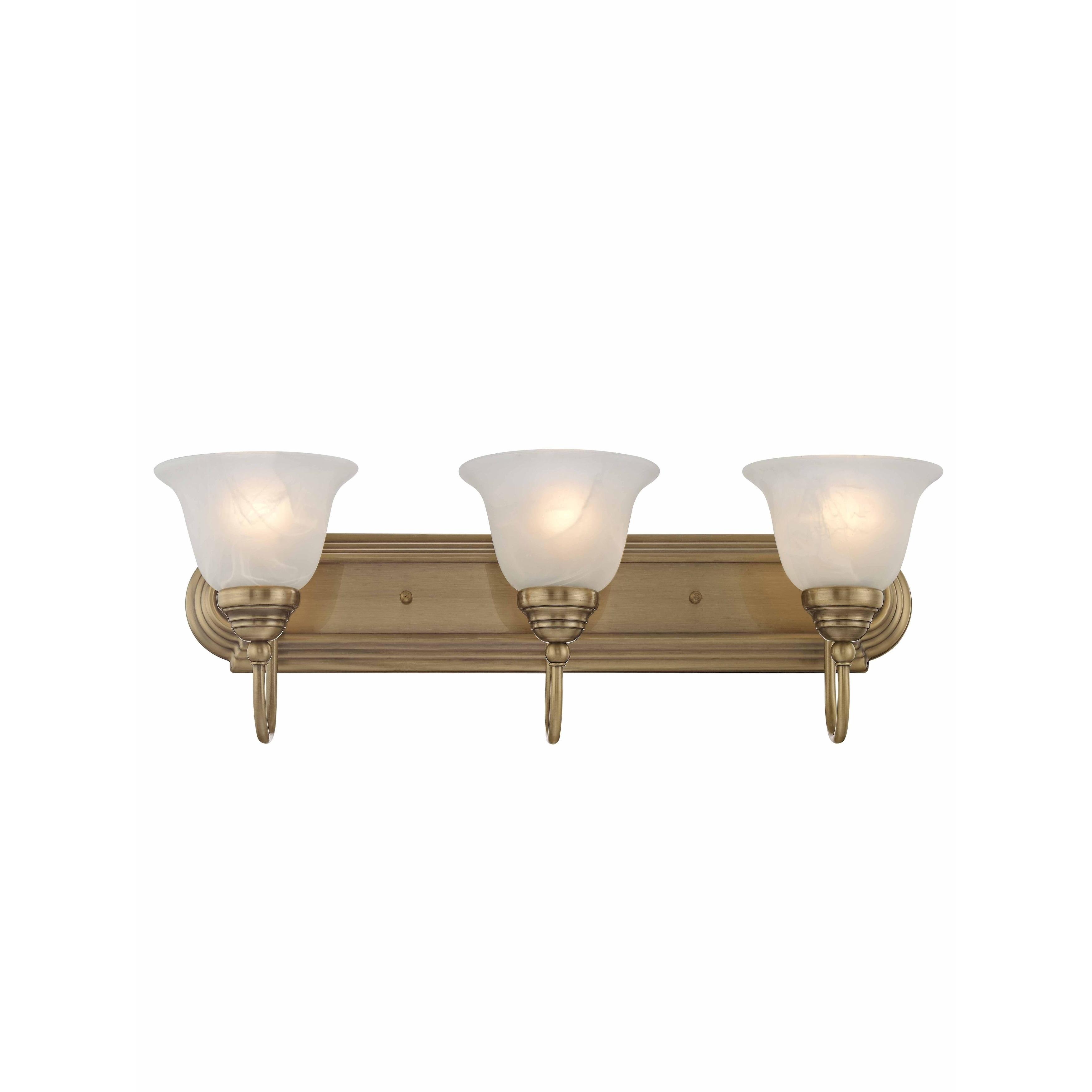 Shop livex lighting belmont gold brass 3 light bathroom light fixture free shipping today overstock com 12039677