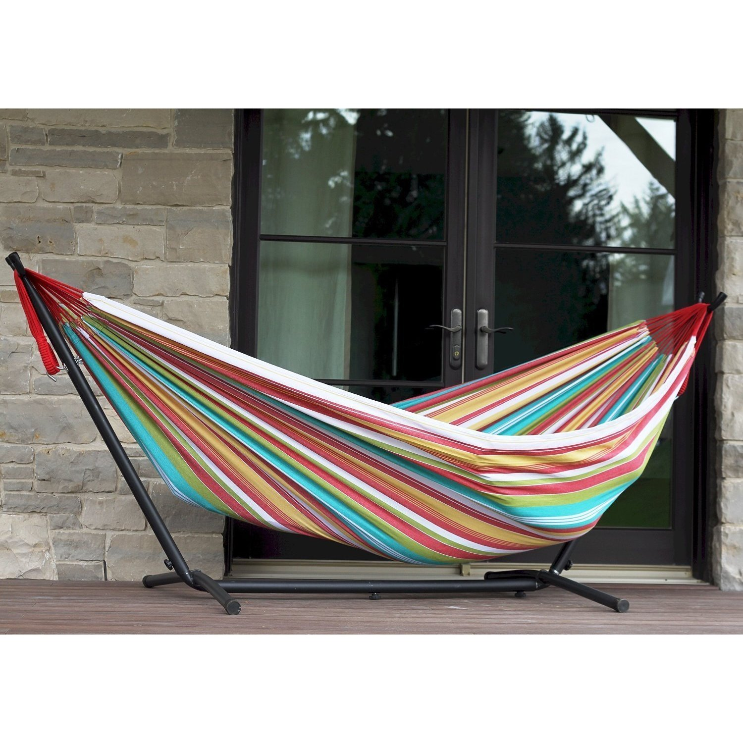 vivere multicolor cotton  bo double indoor outdoor hammock with 9 foot stand   9 u0027   free shipping today   overstock     18911477 vivere multicolor cotton  bo double indoor outdoor hammock with      rh   overstock