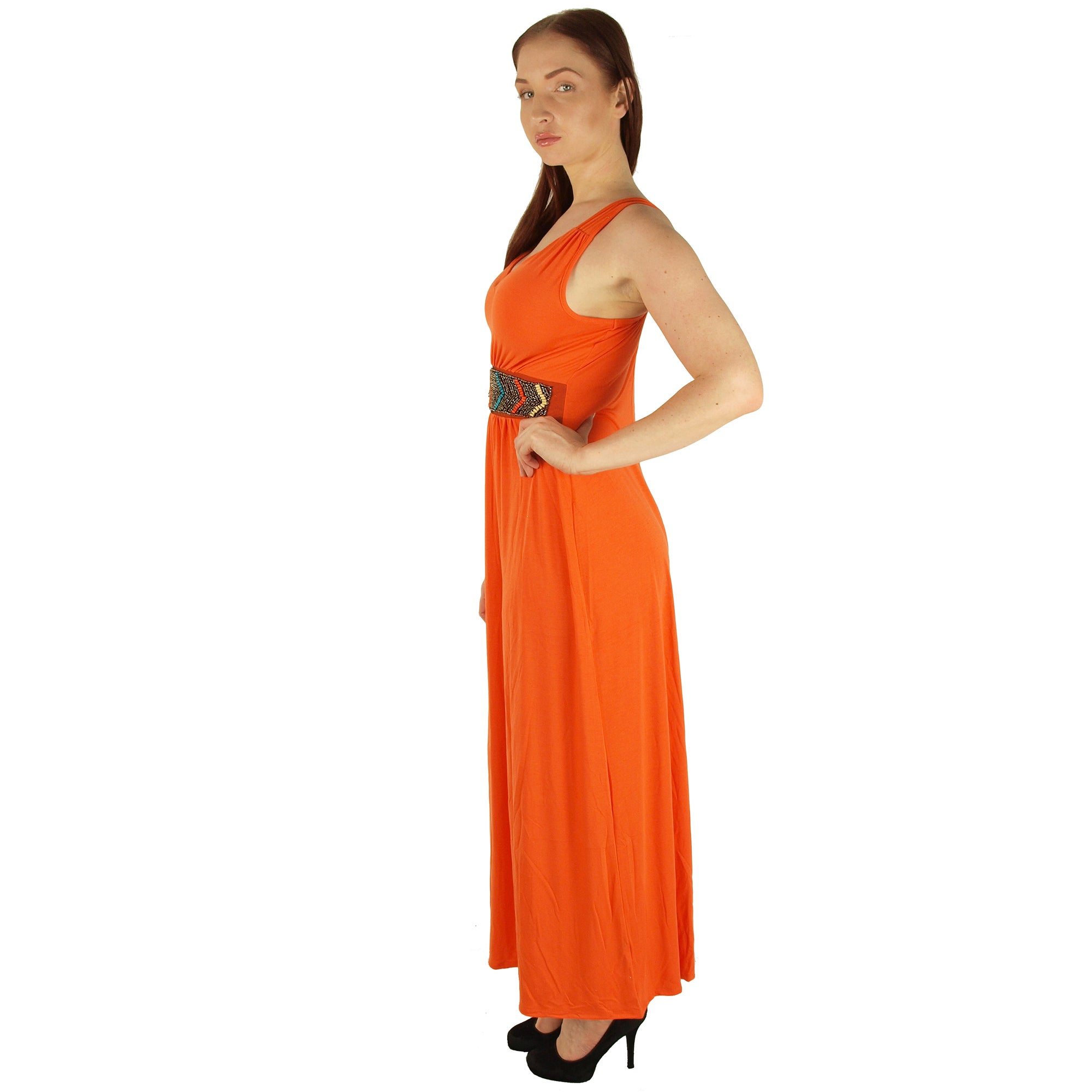 Special One Women\'s Orange Polyester/Rayon/Spandex Super Plus Size Maxi  Dress With Beaded Waist