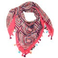 LA77 Women's JJ1004046 Cotton Colorful Square Tribal Pattern Tassel Scarf