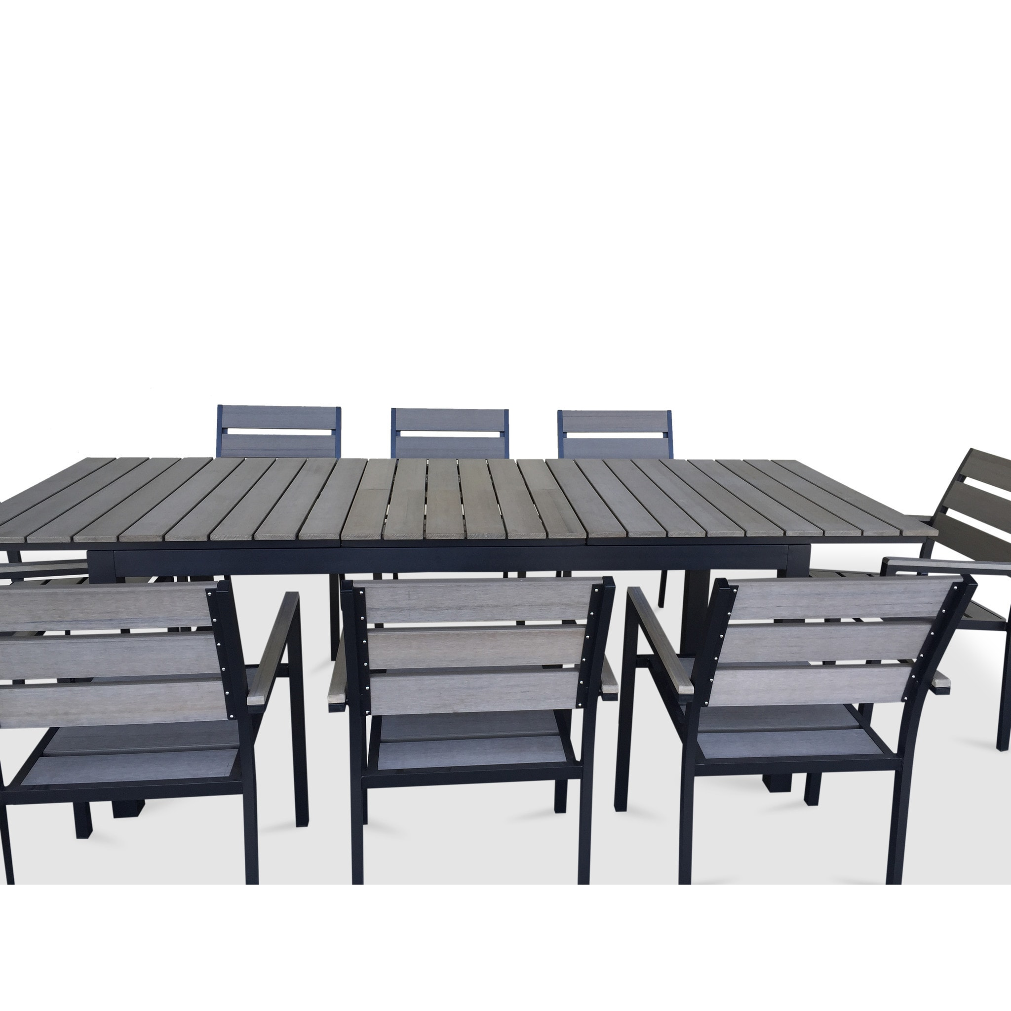 Urban Furnishing Grey Composite Wood Extendable Outdoor Patio 9 ...
