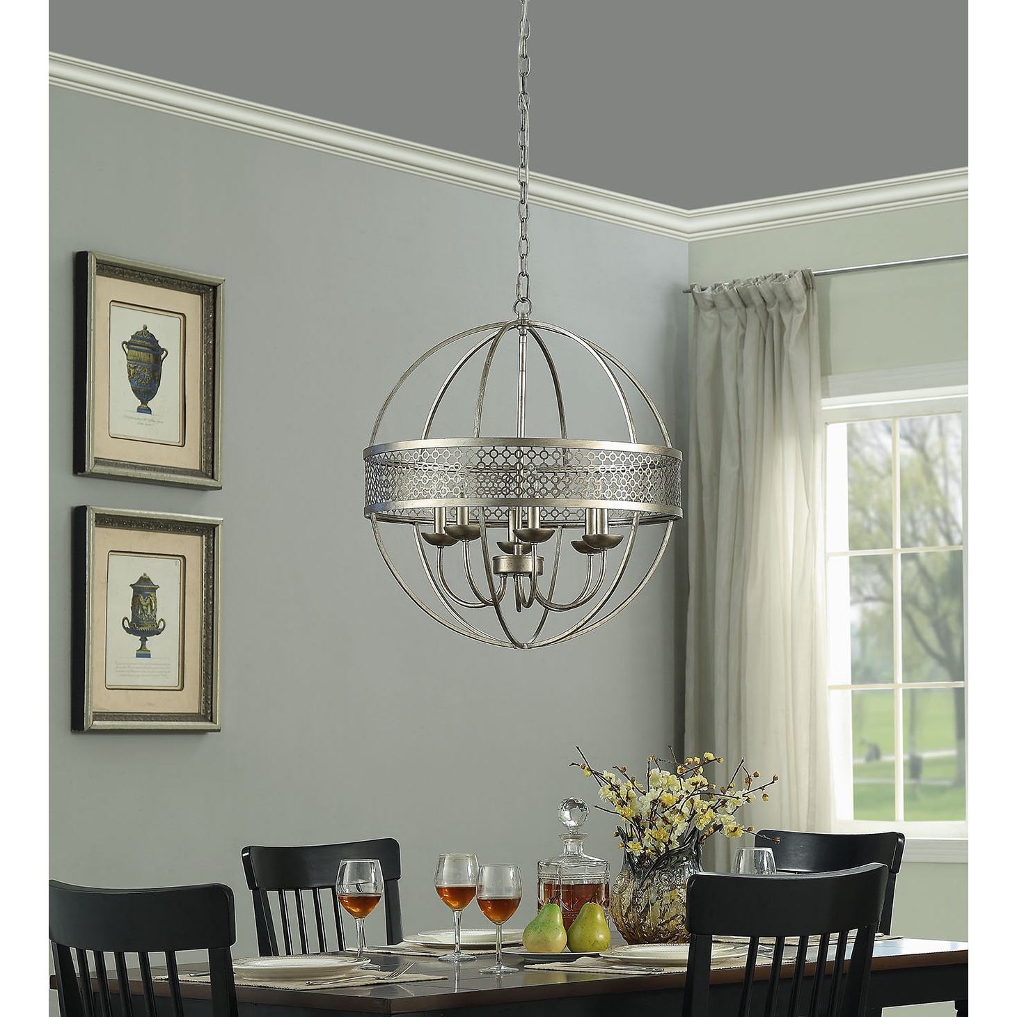 Victoria Orb 6 Light Distressed Silver Chandelier Free Shipping