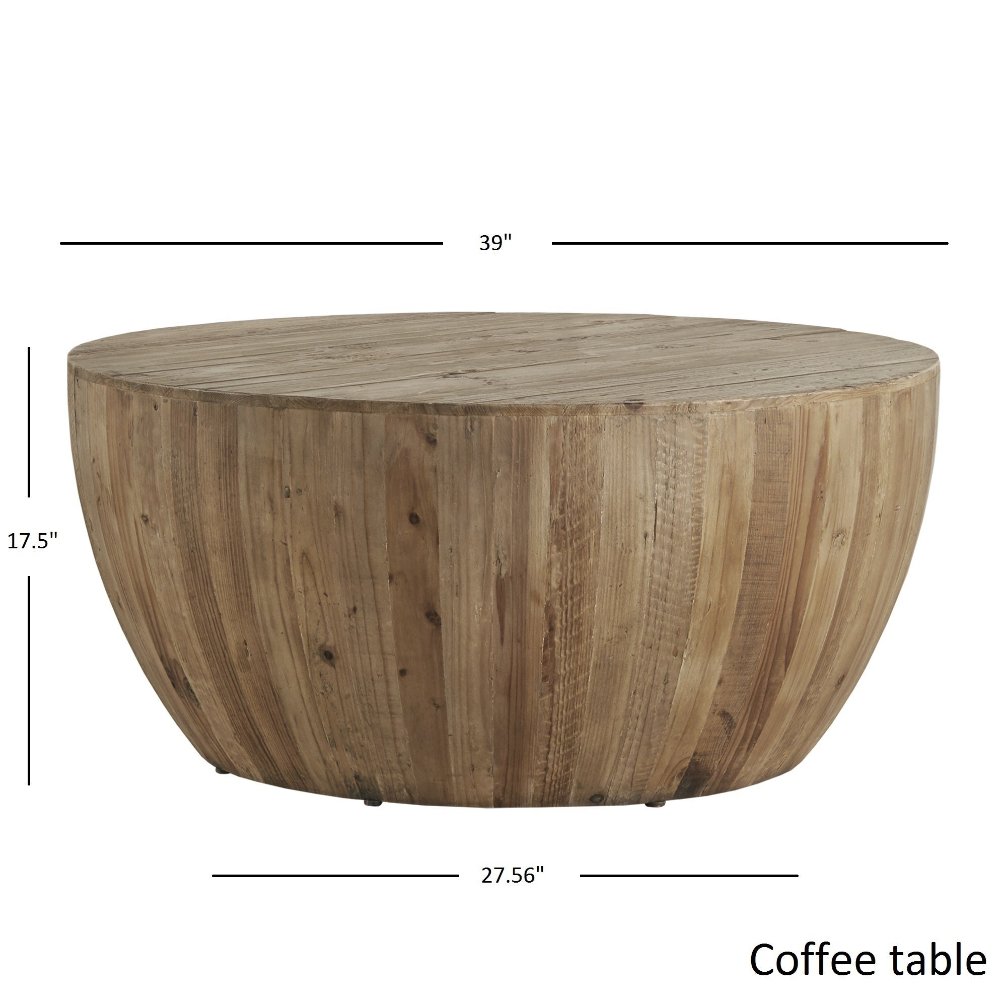 Hatteras Drum Reclaimed Woodblock Barrel Coffee Table by iNSPIRE Q
