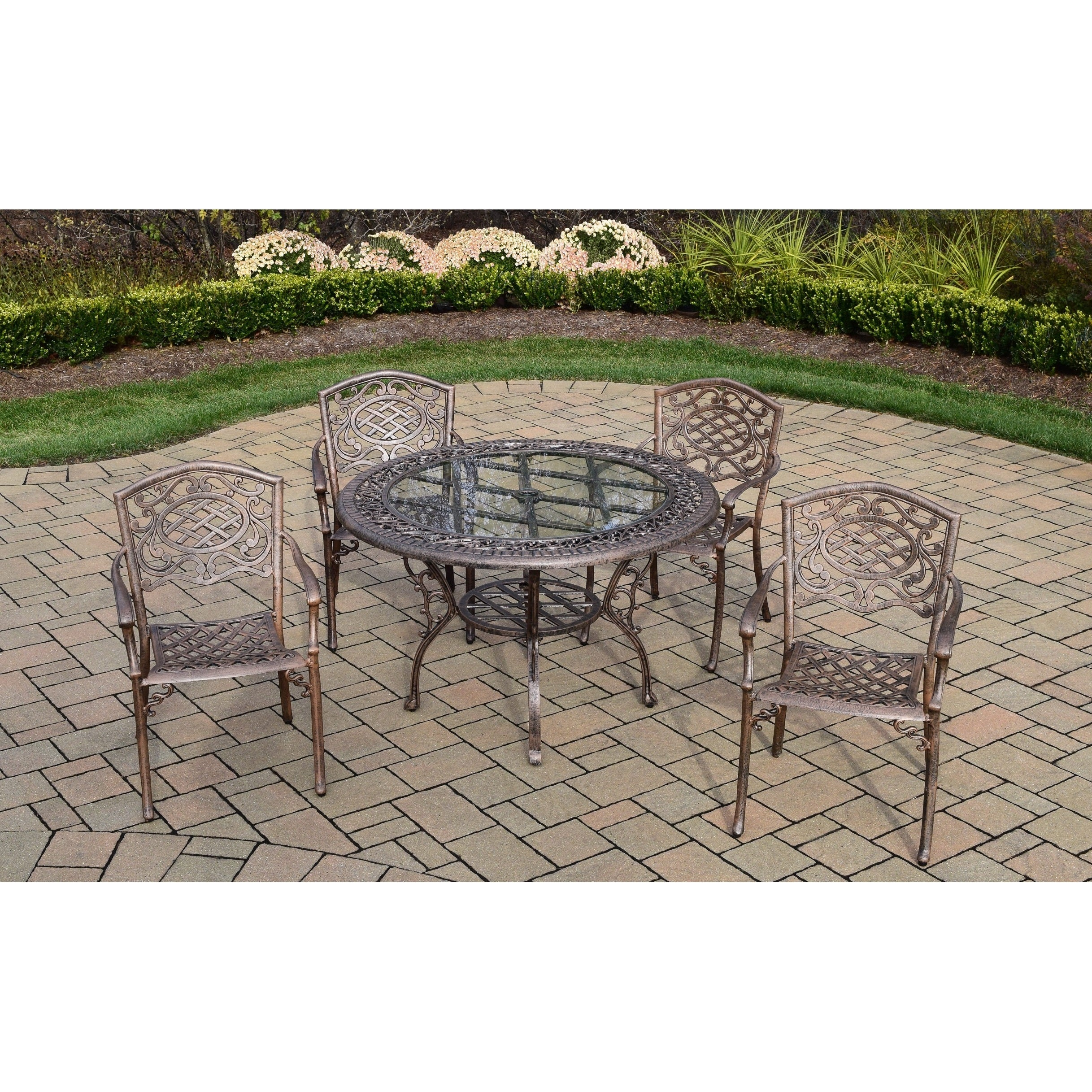 5 pc dining set with 48 inch round table and 4 stackable arm chairs