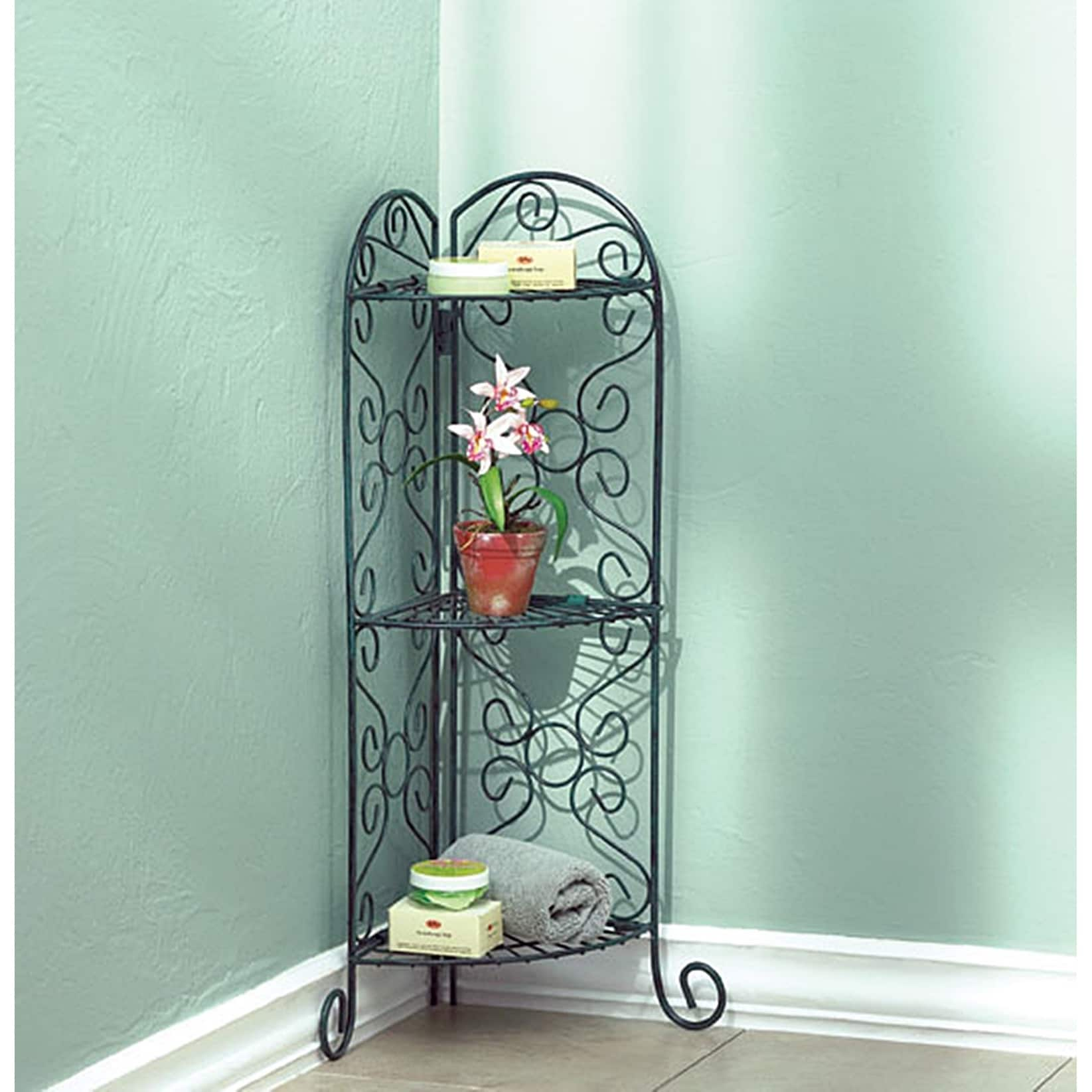Shop Scrolling Metal Corner Plant Stand - Free Shipping Today ...