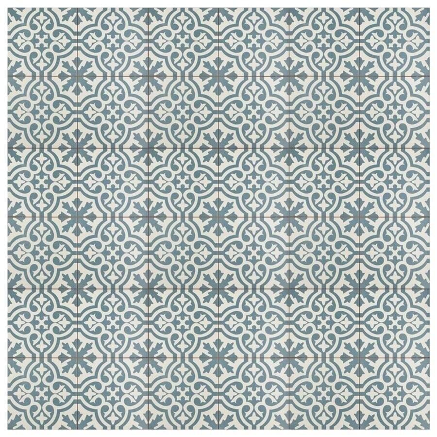 Shop SomerTile 17.625x17.625-inch Tudor Blue Ceramic Floor and Wall ...