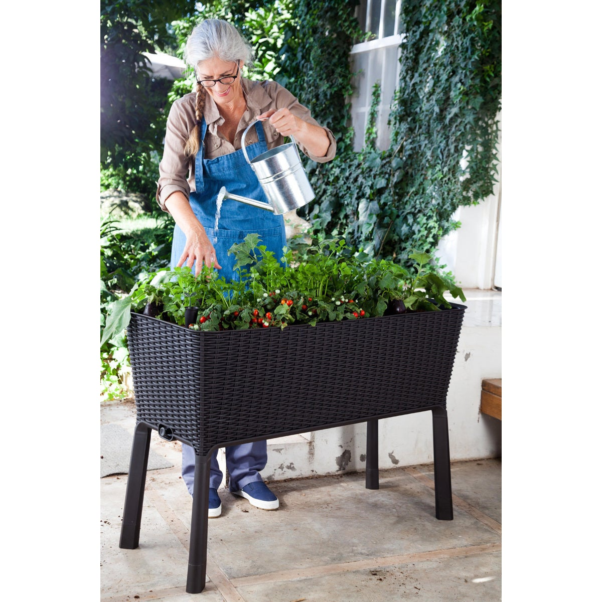 Shop Keter Easy Grow Patio Flower Plant Planter Raised Elevated Garden Bed    Free Shipping Today   Overstock.com   12046938