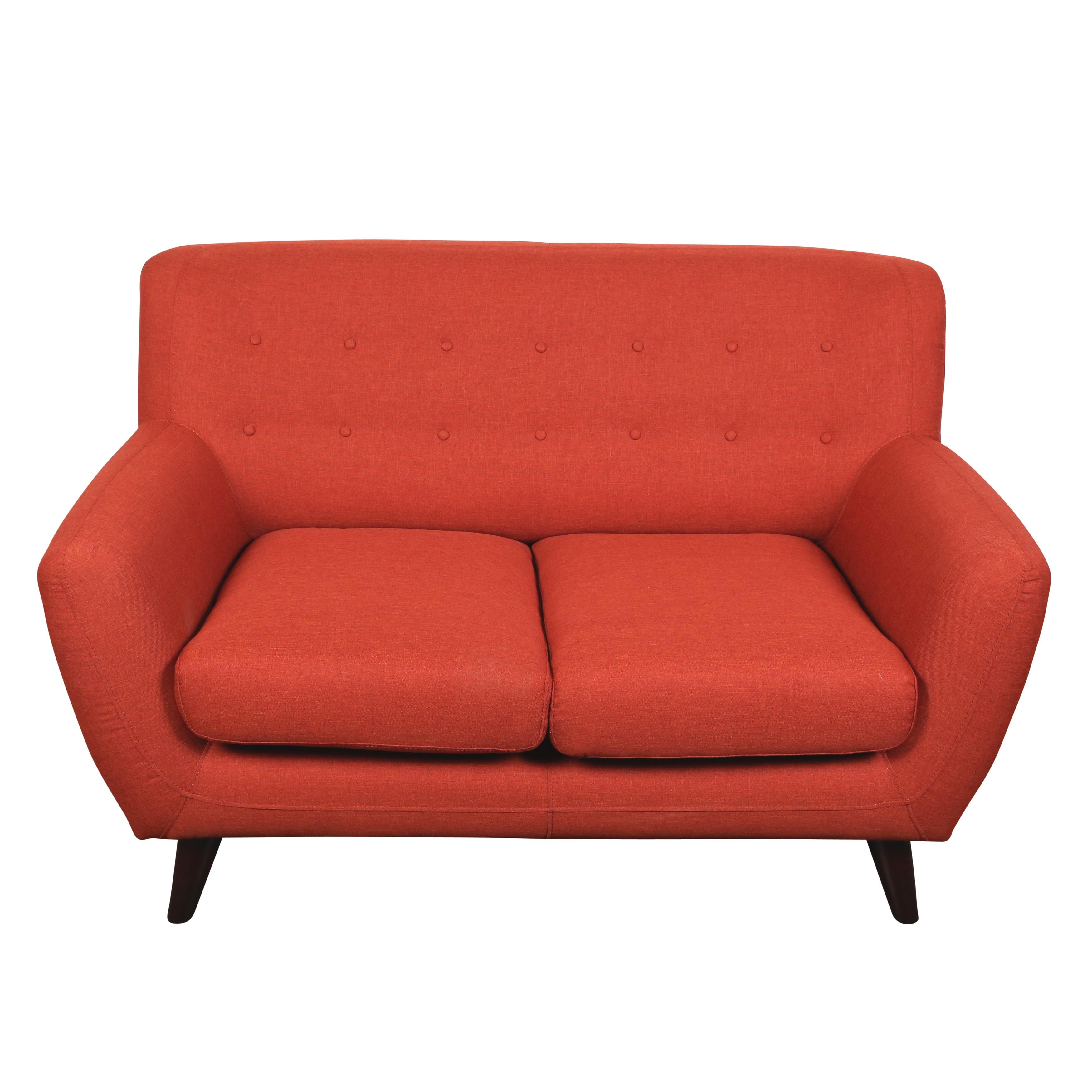 Porter E Pumpkin Orange Mid Century Modern Loveseat On Free Shipping Today 12049987