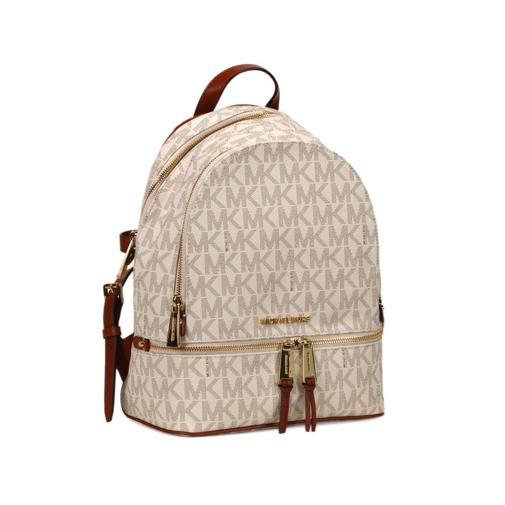 8f0f31286417 ... get shop michael kors vanilla signature rhea zip small fashion backpack  free shipping today overstock 12050555