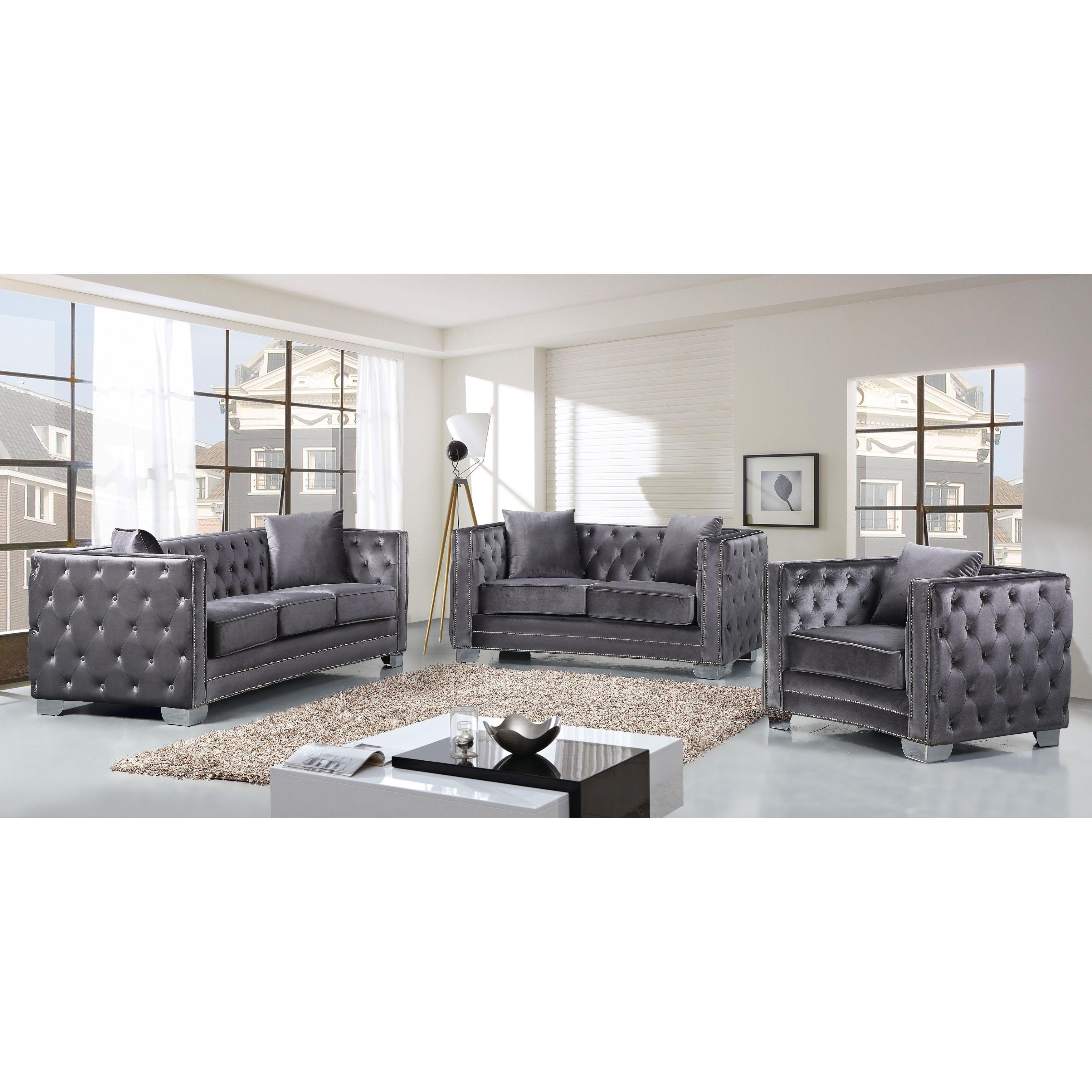 Shop Meridian Reese Grey Velvet 3-piece Furniture Set - Free ...