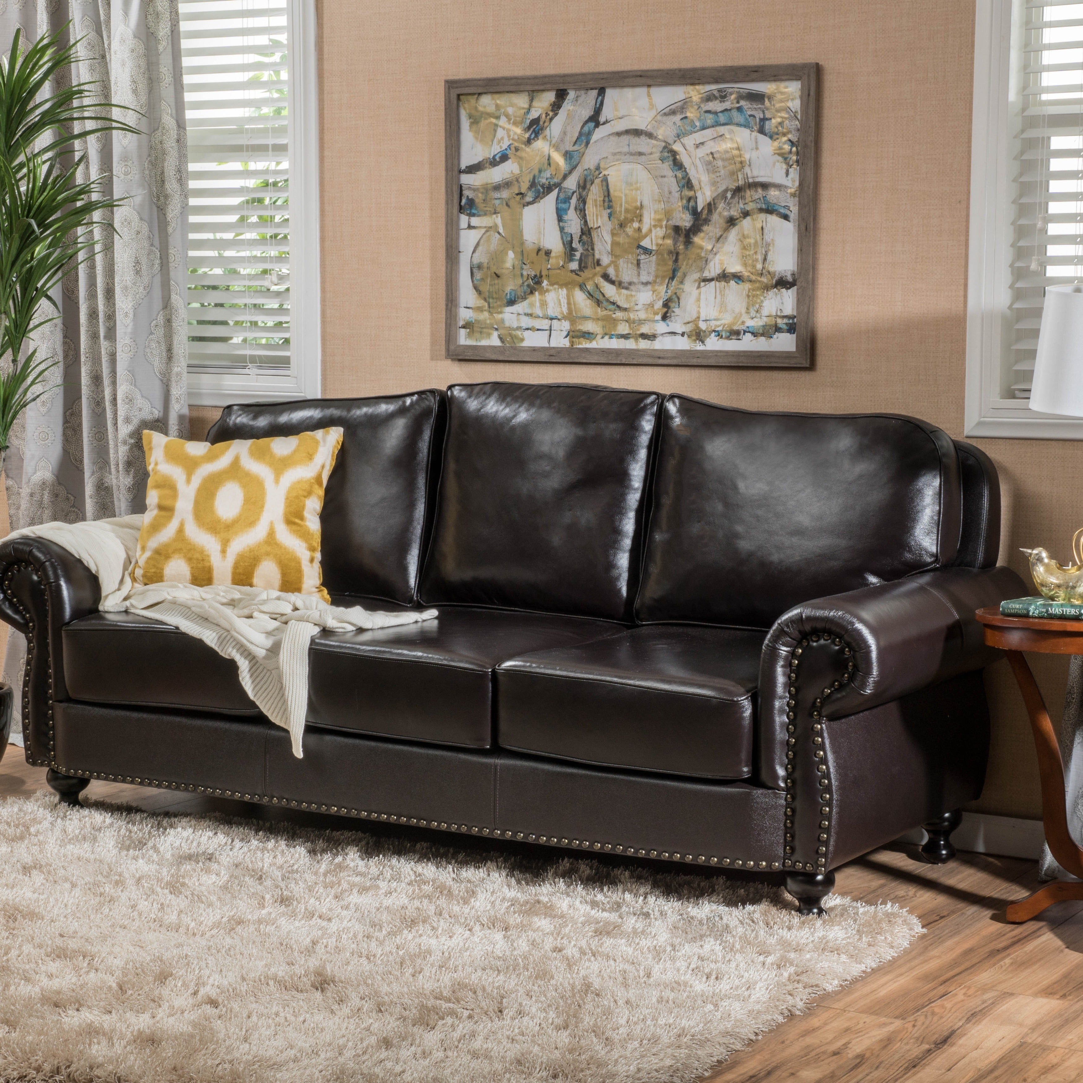 Taro 3 Seat Top Grain Leather Studded Sofa By Christopher Knight Home Free Shipping Today 12052729