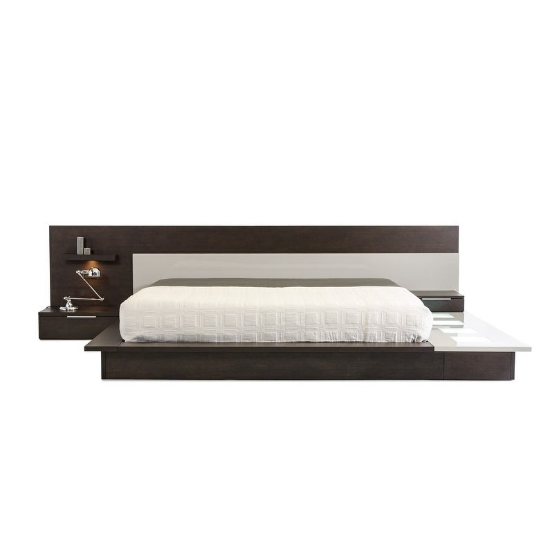 Shop Modrest Torino Contemporary Brown Oak U0026 Grey Platform Bed W/ Lights    Free Shipping Today   Overstock   12054095