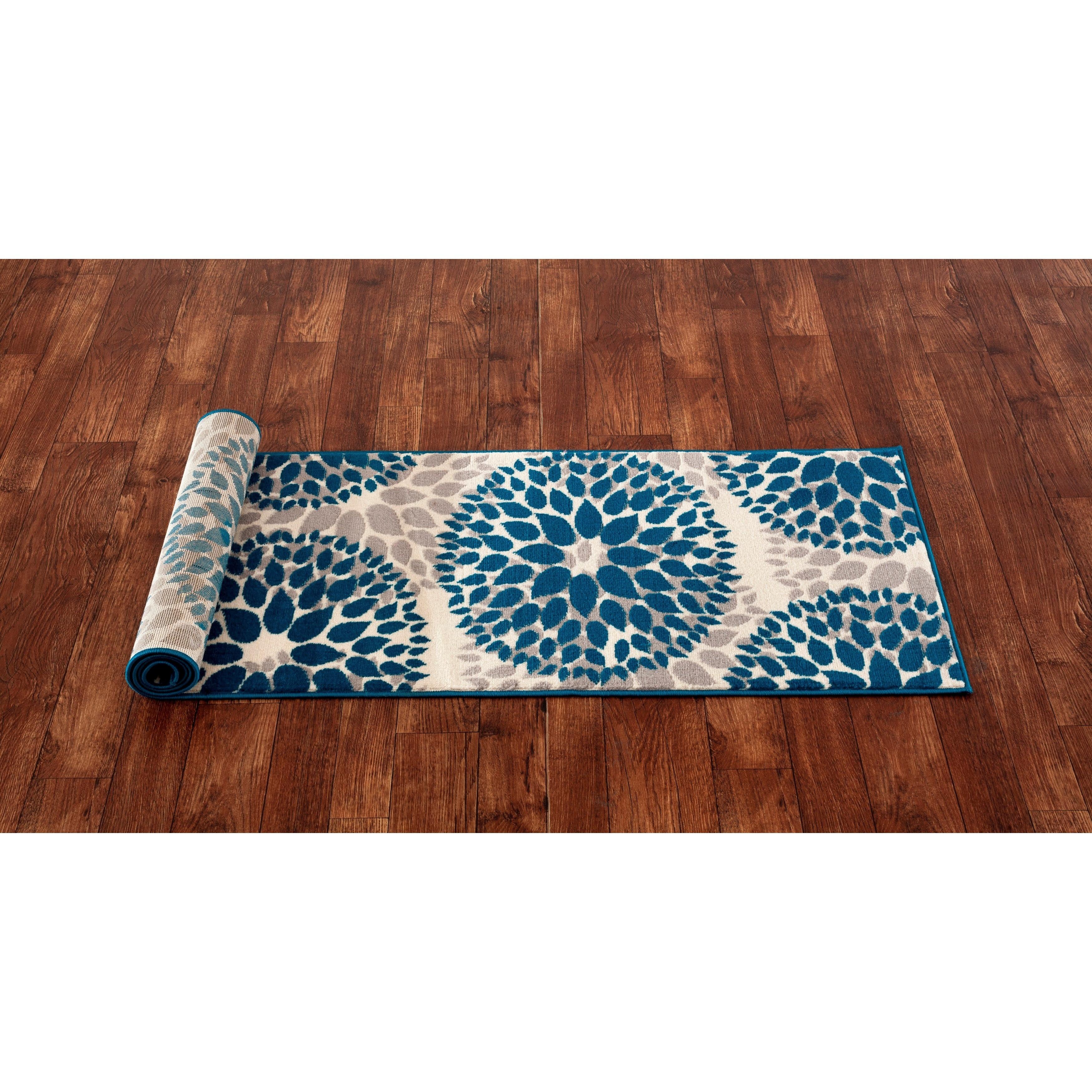 Shop OSTI Blue/Grey/Beige Floral Design Modern Runner Rug   2u0027x7u00272   On  Sale   Free Shipping On Orders Over $45   Overstock.com   12054335