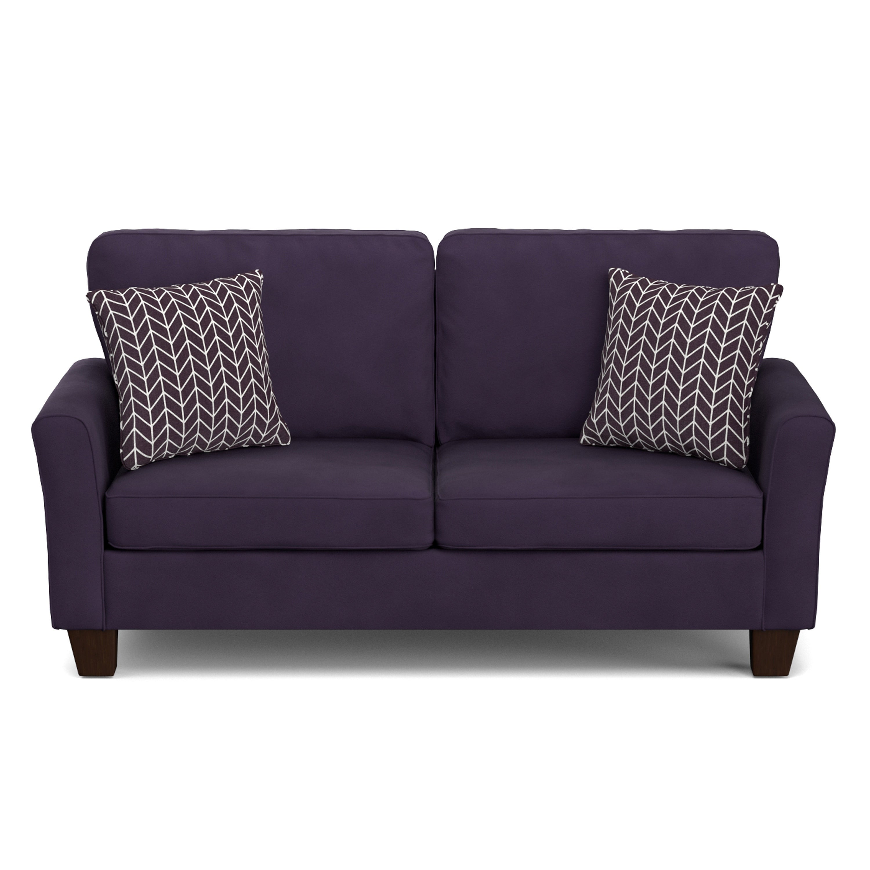 Handy Living Redmond Plum Purple Velvet Sofast Compact Sofa Free Shipping Today 12057477