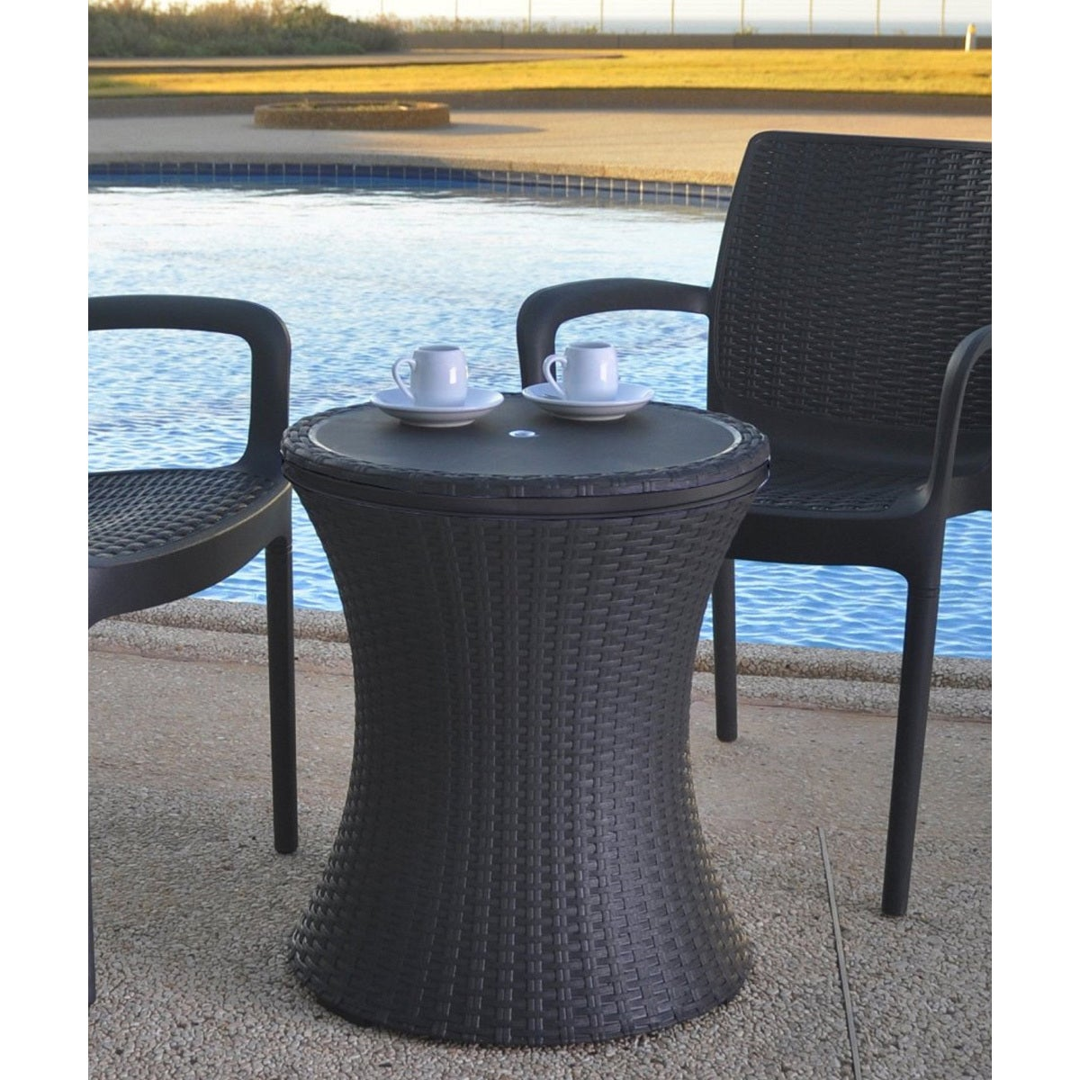 Keter Pacific Cool Bar Brown Wicker Outdoor Ice Cooler Table   Free  Shipping Today   Overstock.com   18928784