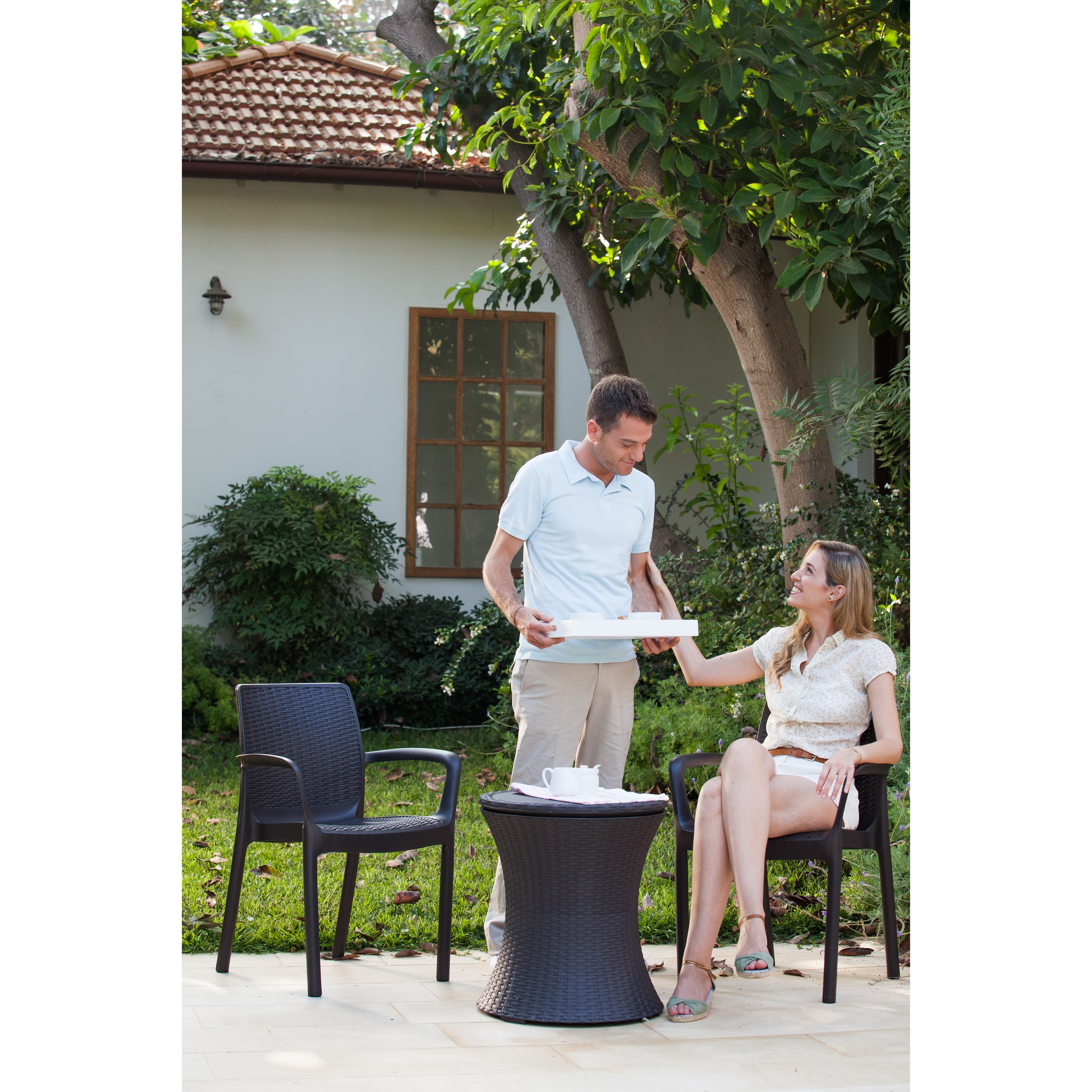 Keter Pacific Cool Bar Brown Wicker Outdoor Ice Cooler Table