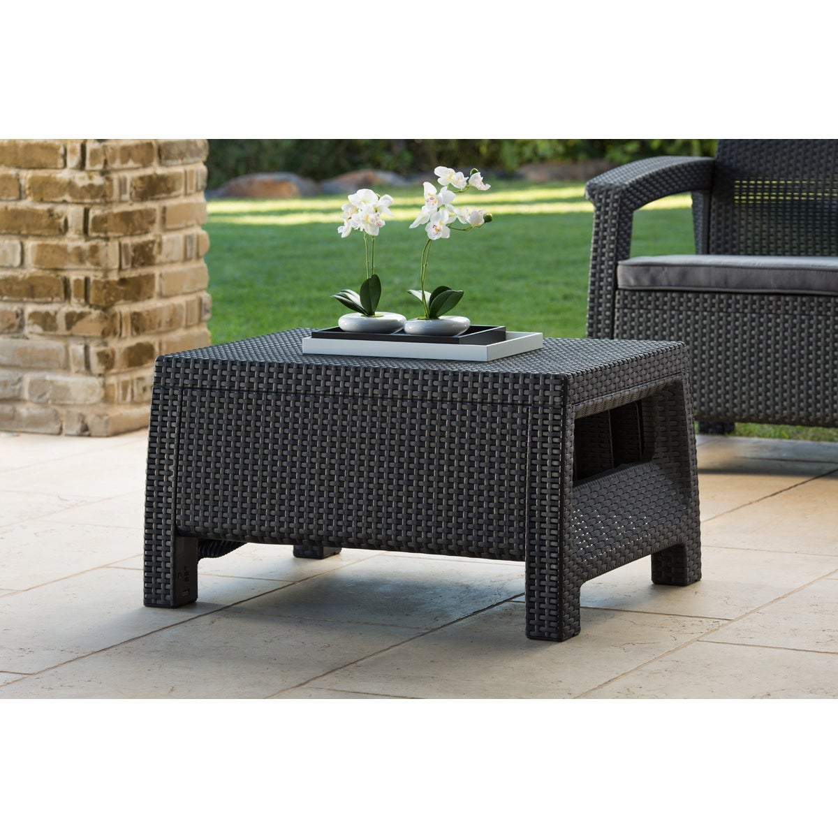 Keter Corfu Charcoal All-Weather Outdoor Garden Patio Coffee Table ...