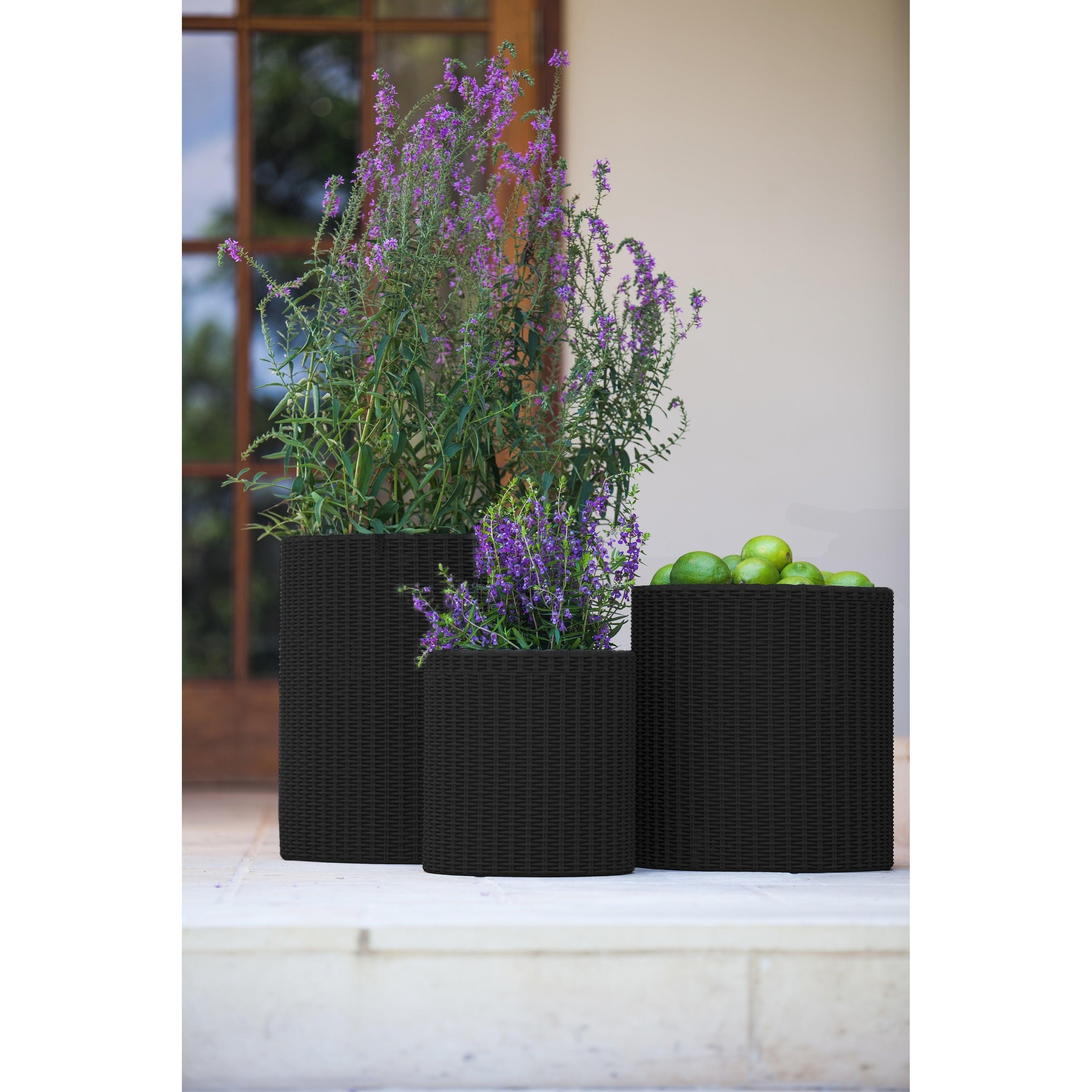 Keter Brown Plastic Resin Rattan Round Cylinder 3 Piece Garden Planter