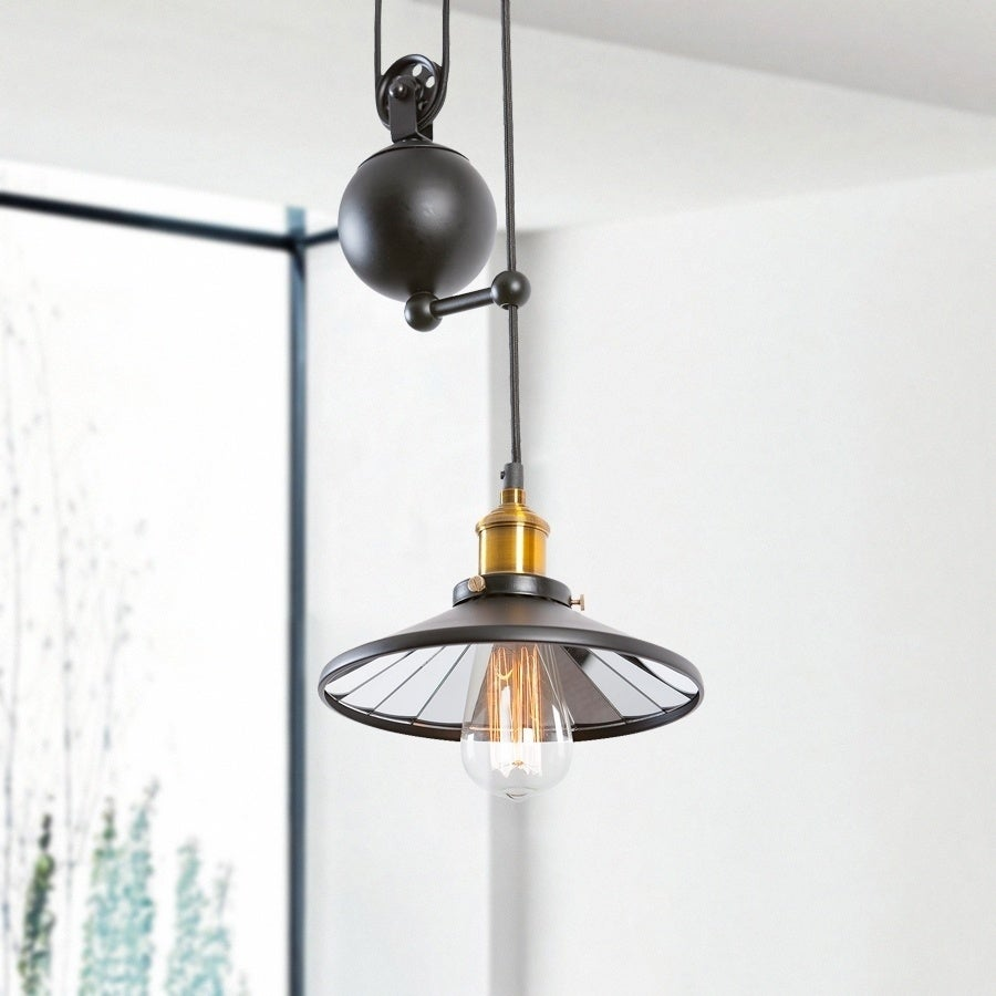 Shop Light Society Rawley Black Iron Pulley Pendant Lamp Free