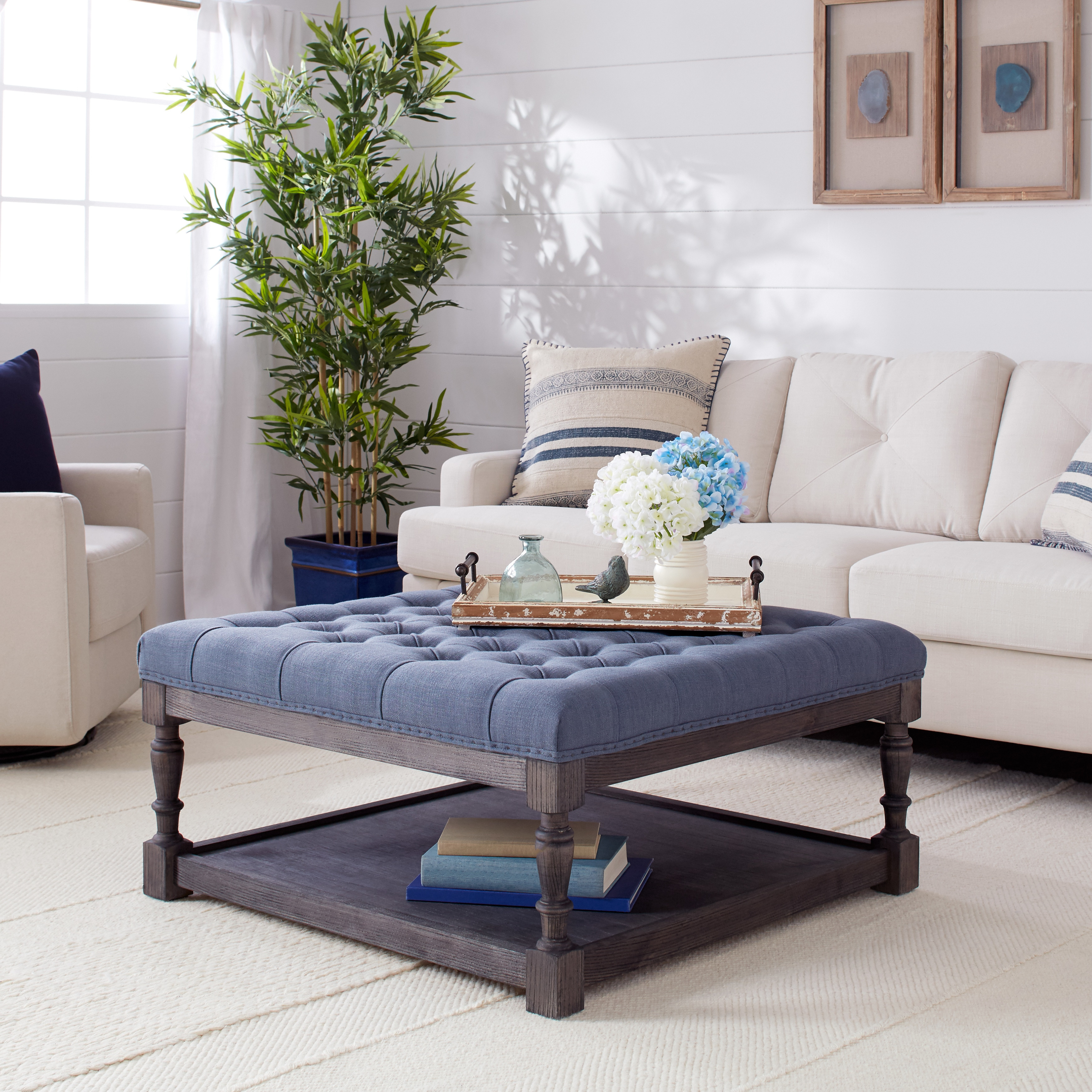 I Love Living Creston Navy Blue Linen Tufted Cocktail Ottoman
