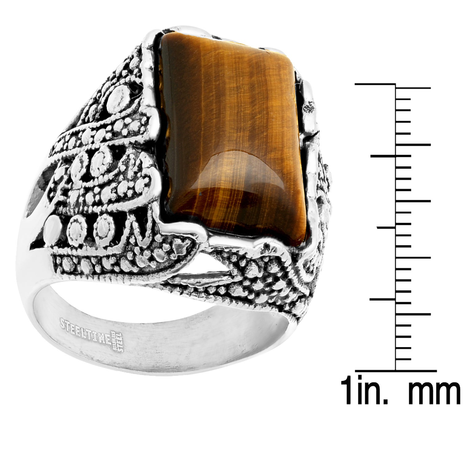 rings shipping gold size engraved tigers vintage white eye ring carved man soldier free l