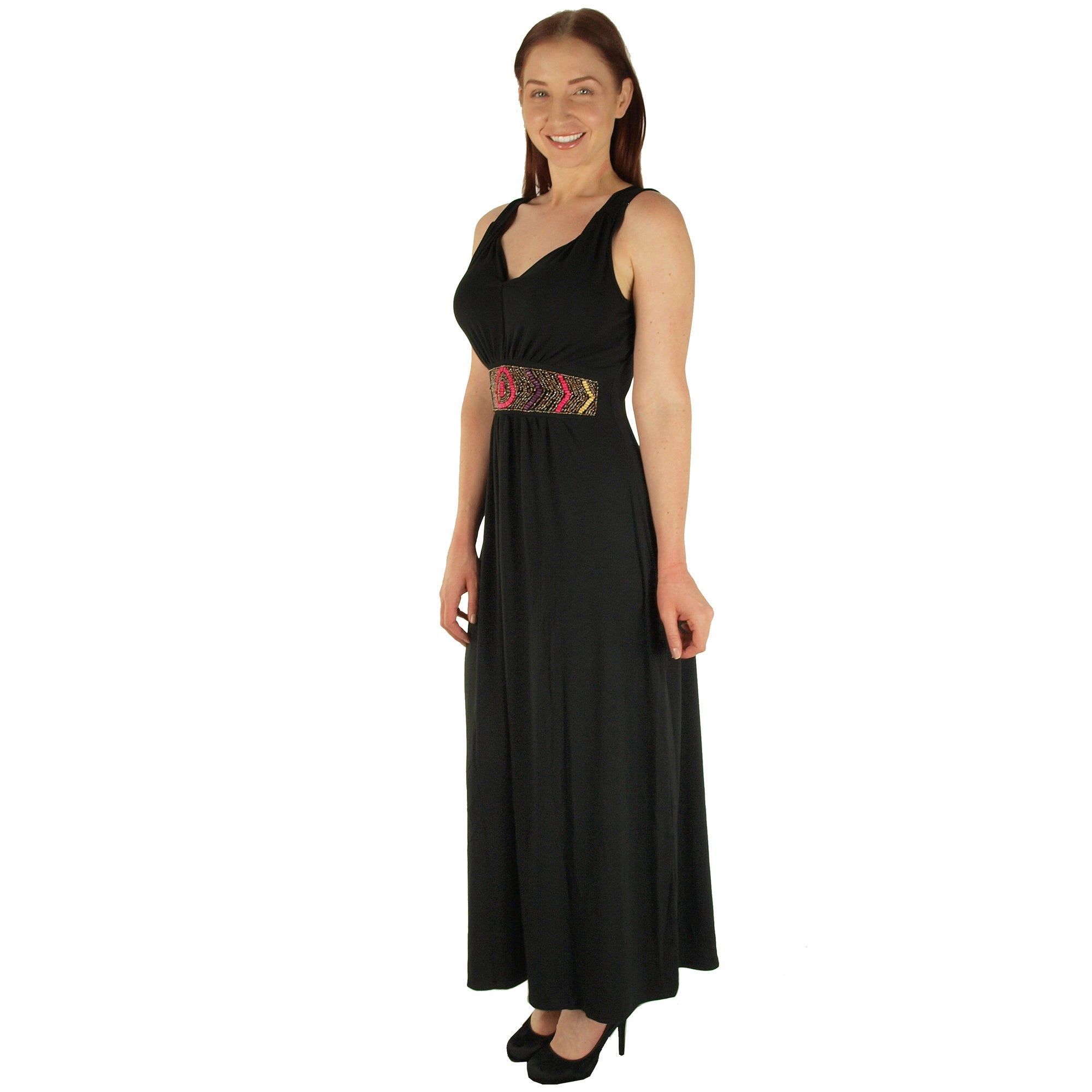971ae710ee Shop Special One Women s Black Polyester Super Plus Size Beaded Waist Maxi  Dress - Free Shipping On Orders Over  45 - Overstock - 12061344