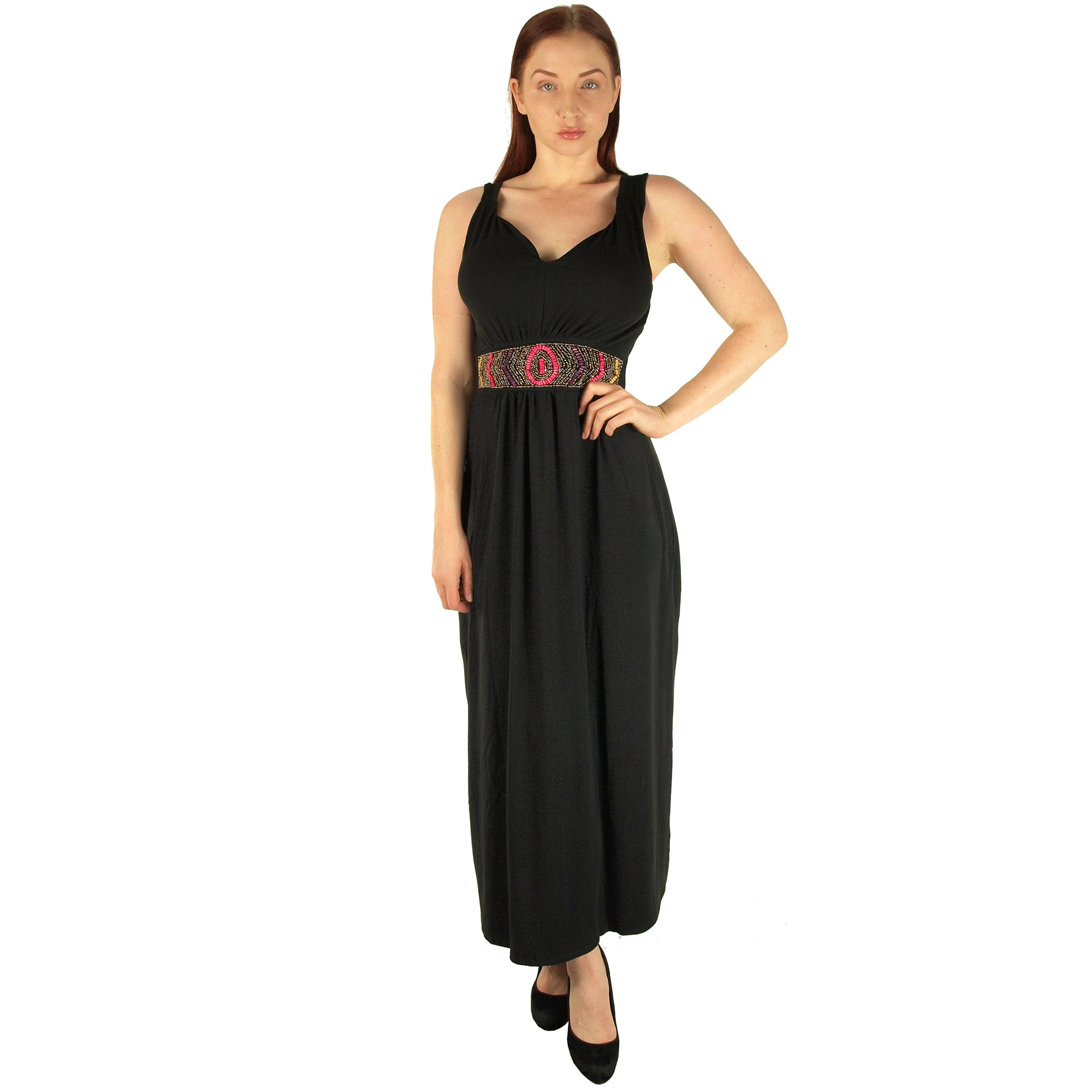 69f308cf41 Special One Women s Black Polyester Super Plus Size Beaded Waist Maxi Dress
