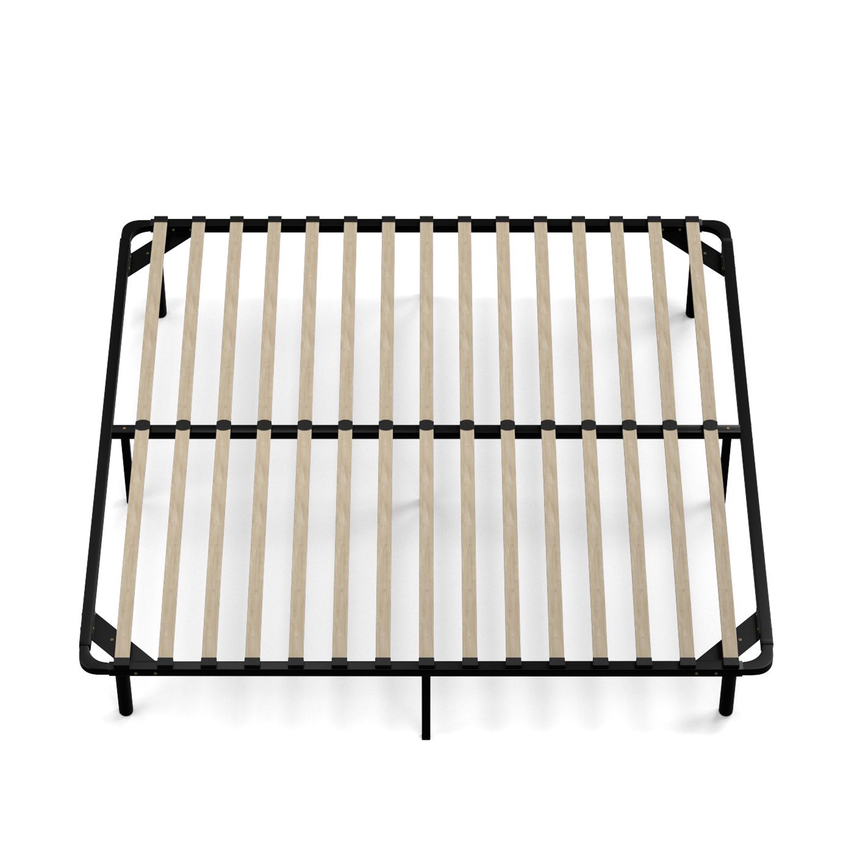 handy living king size wood slat bed frame free shipping today overstockcom 18930805 - Wooden Slat Bed Frame