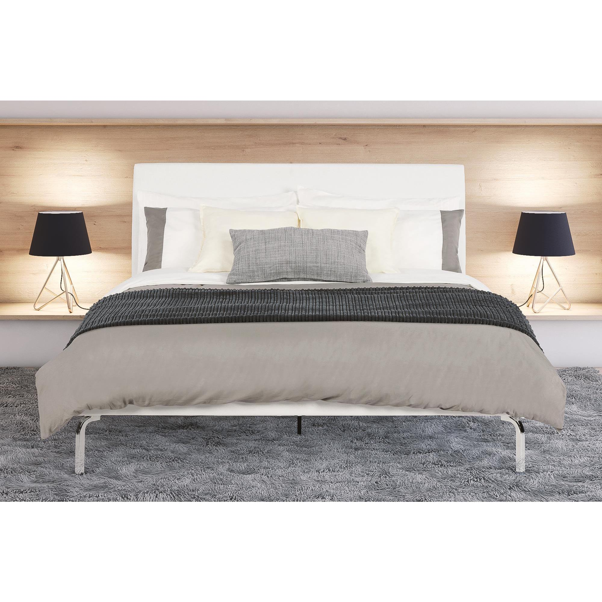 Shop DHP Wilshire Queen Faux Leather and Chrome Bed   Free
