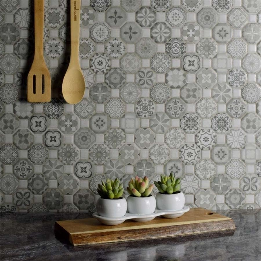Somertile 12 25x12 25 Inch Tesseract Grey Ceramic Floor And Wall Tile Case Of 13 Free Shipping Today 18933533