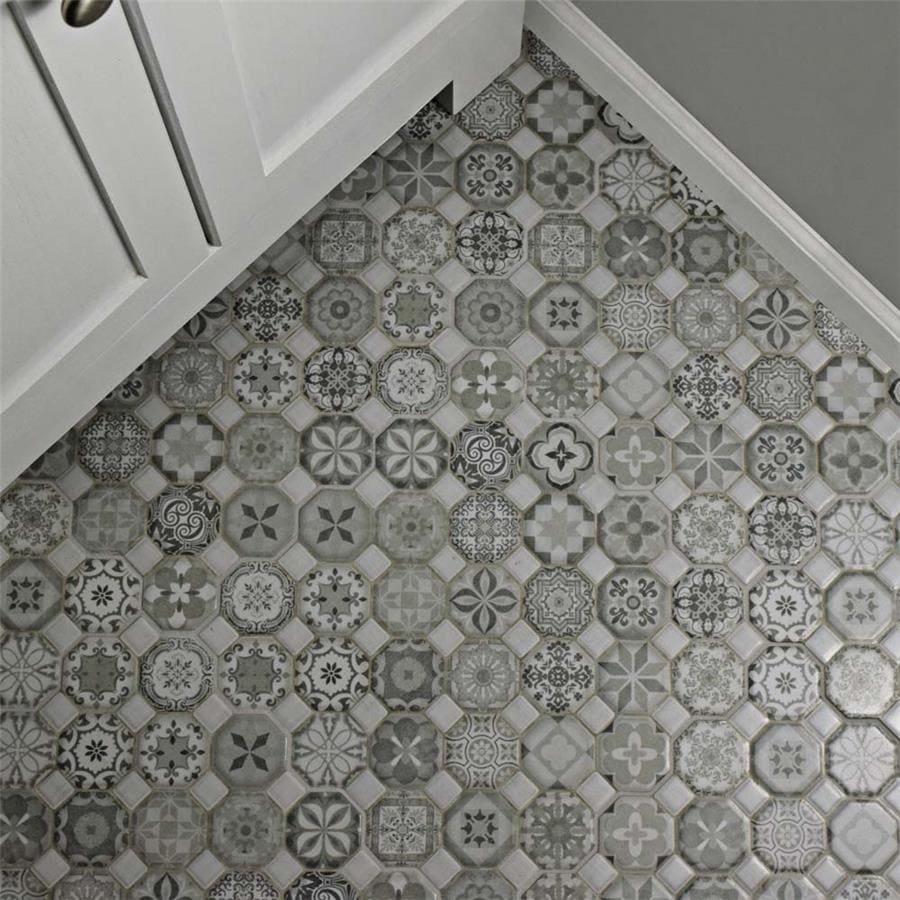 Shop SomerTile Xinch Tesseract Grey Ceramic Floor And - 13 inch floor tiles