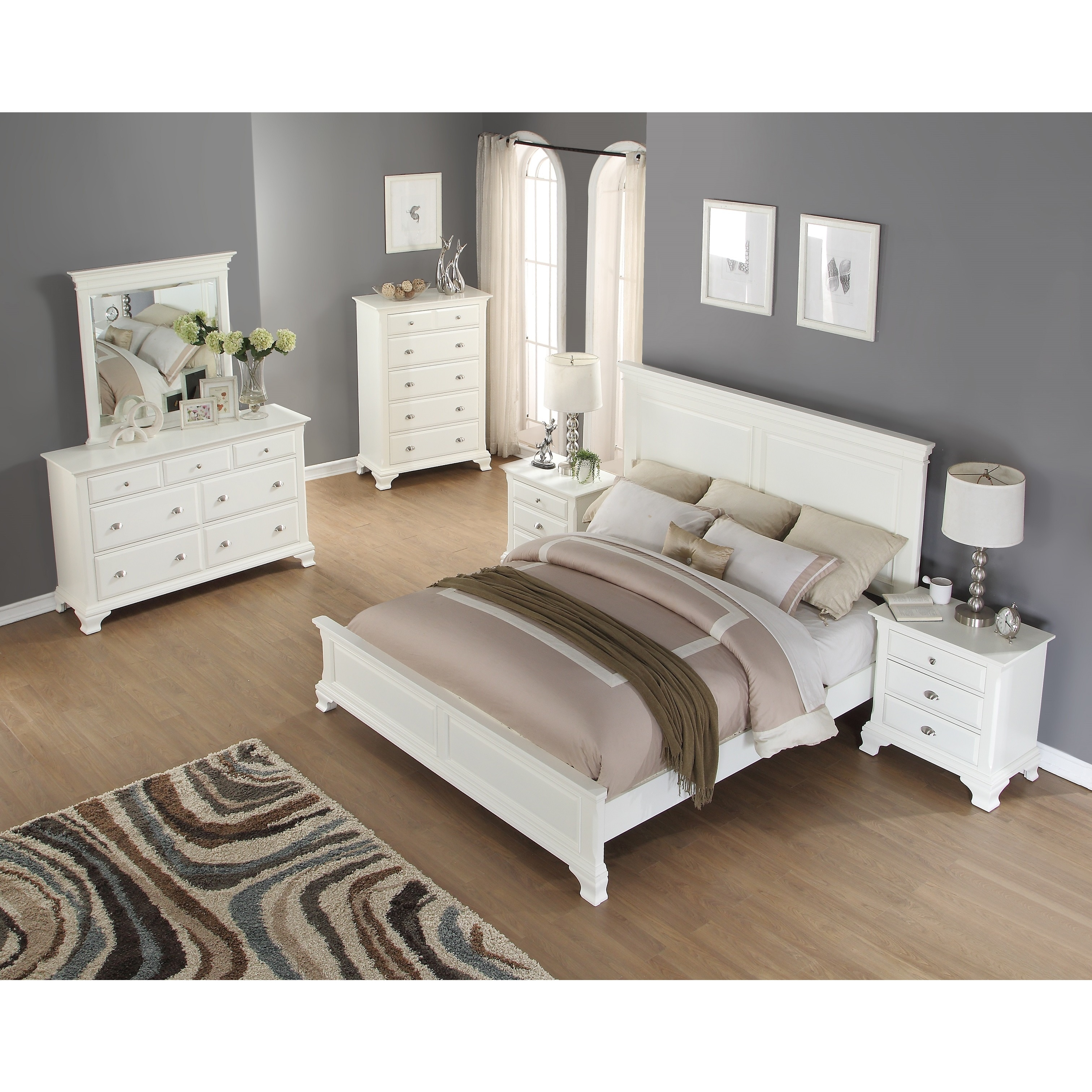 Shop Laveno 012 White Wood Bedroom Furniture Set Includes Queen Bed