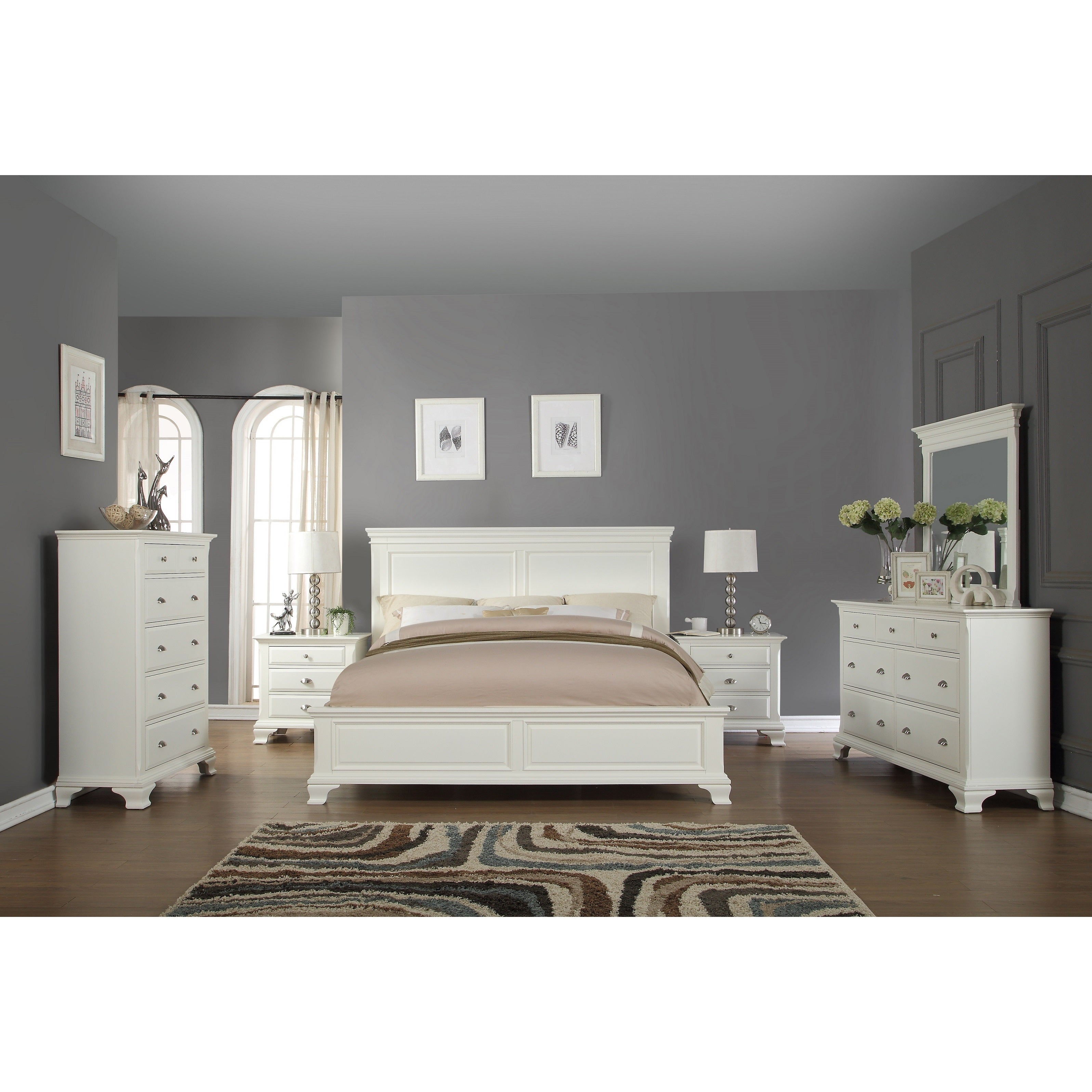 Laveno 012 White Wood Bedroom Furniture Set Includes Queen Bed Dresser Mirror 2 Night Stands And Chest