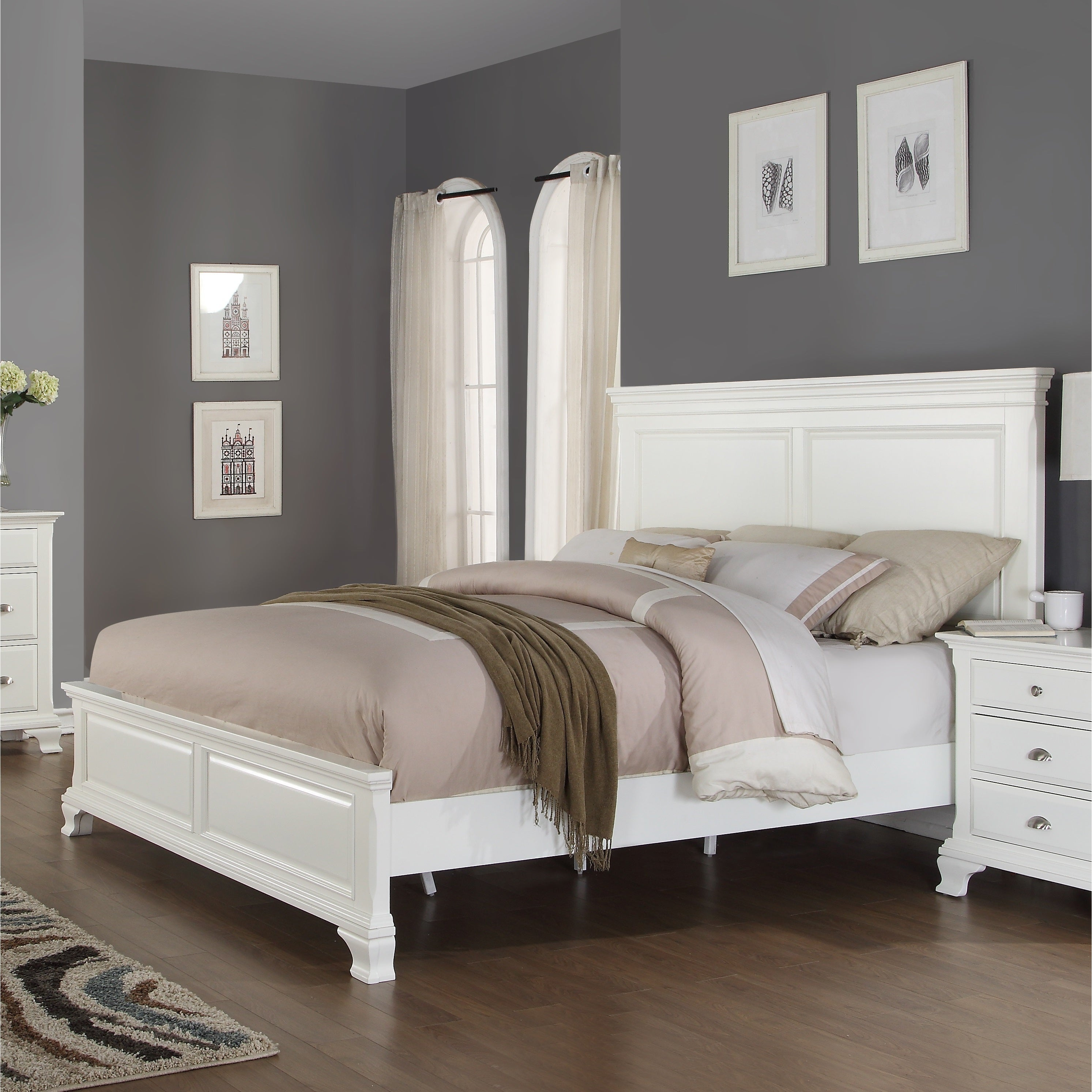 Laveno 012 White Wood Bedroom Furniture Set Includes Queen Bed Dresser Mirror 2 Night Stands And Chest Free Shipping Today